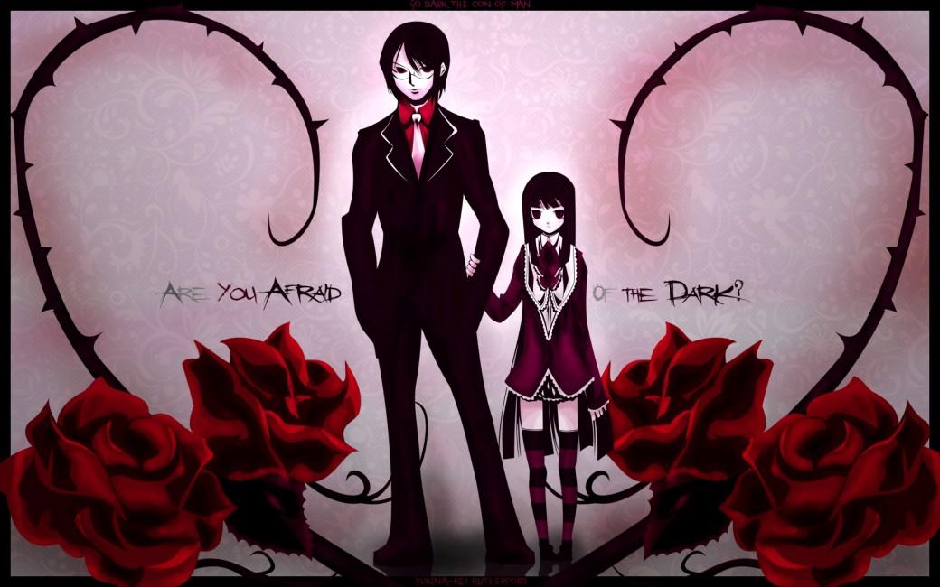 Boy Dark Anime Girl Rose Background - Rose Girl And Boy , HD Wallpaper & Backgrounds