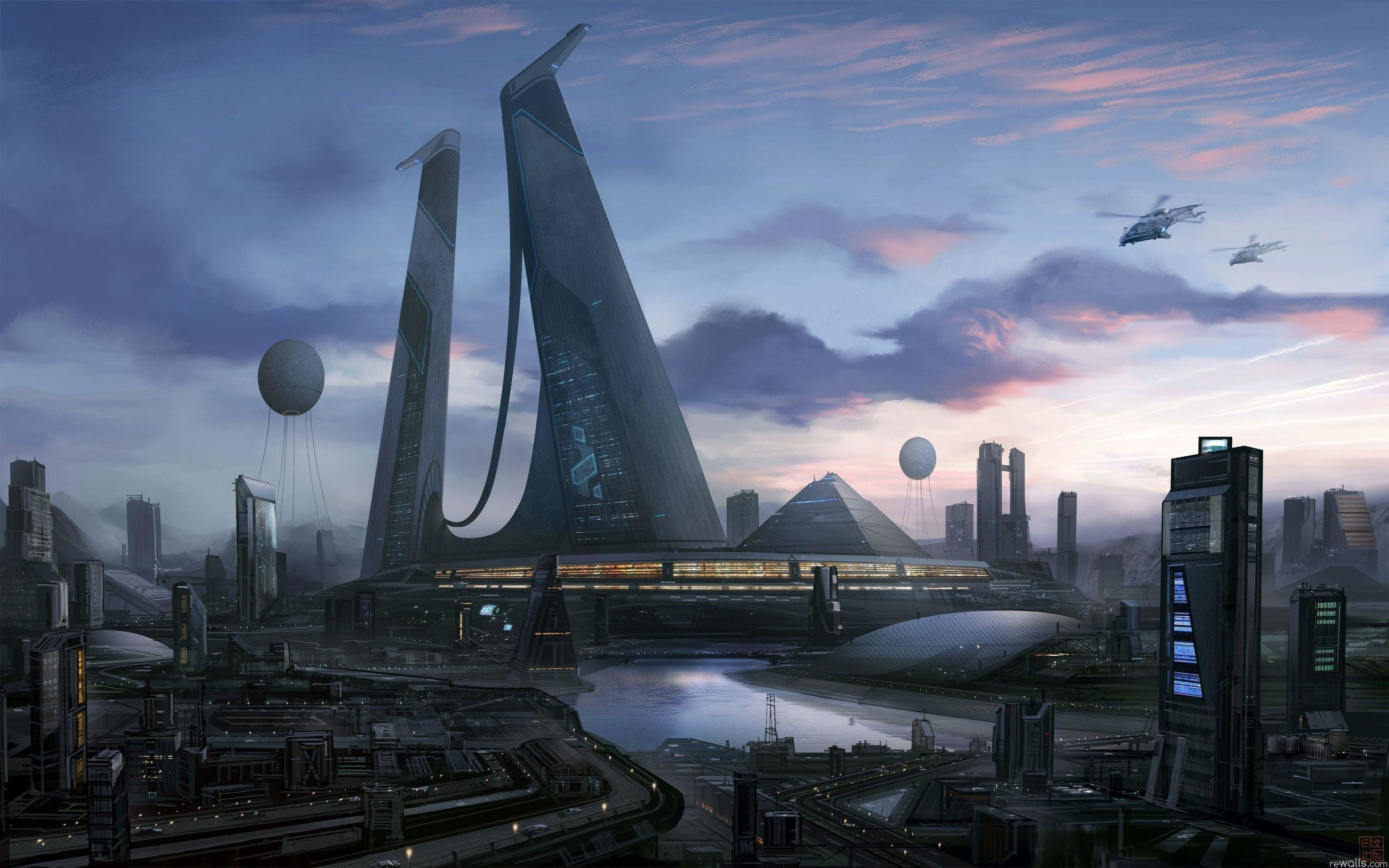 Sci Fi City Beautiful 1366679 Hd Wallpaper Backgrounds Download