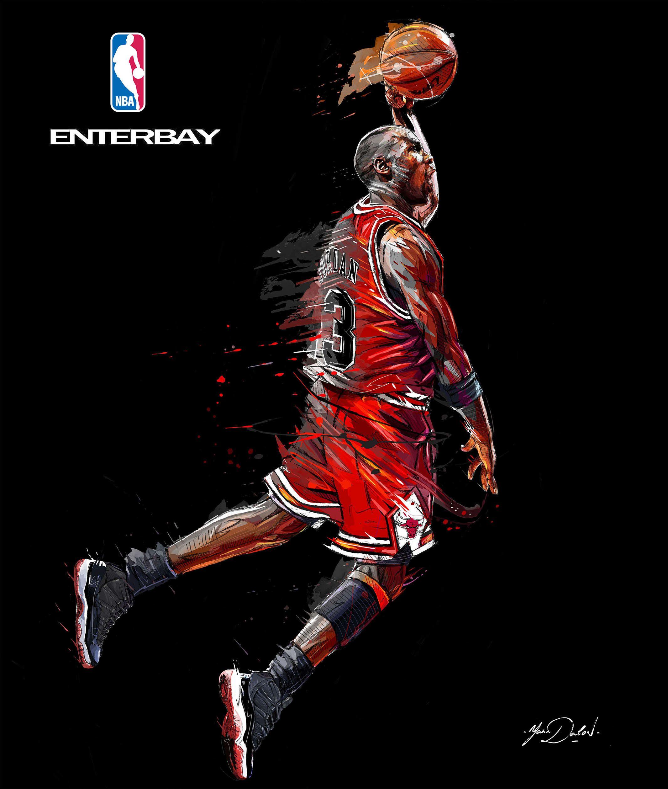 Three Paintings Of The Famous Michael Jordan Scottie Michael