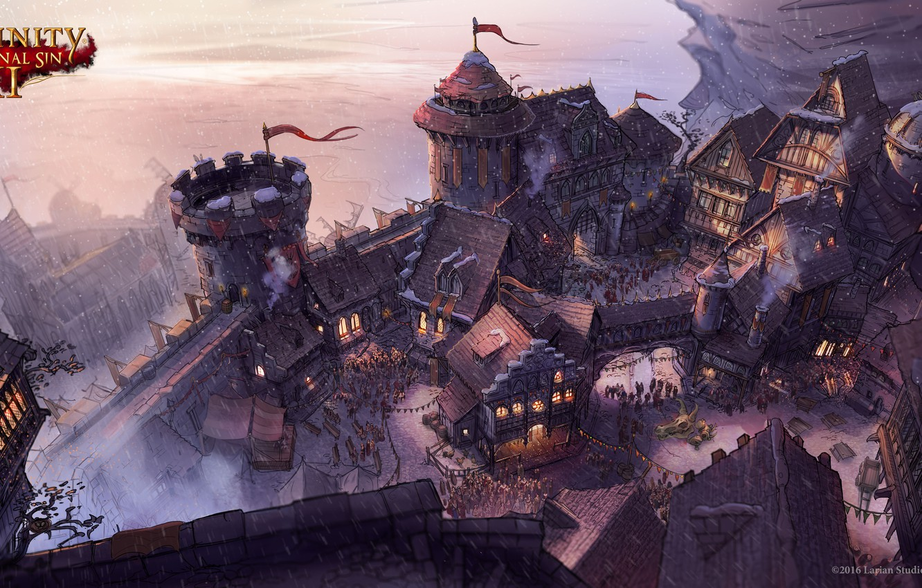 Photo Wallpaper Winter Snow Castle Holiday Art Divinity Original Sin 2 Castle 1370411 Hd Wallpaper Backgrounds Download