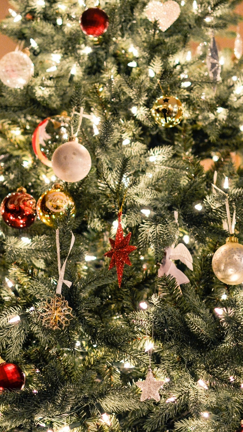 Wallpaper Christmas Tree, Ornaments, Garlands - Iphone Wallpaper Christmas Tree , HD Wallpaper & Backgrounds