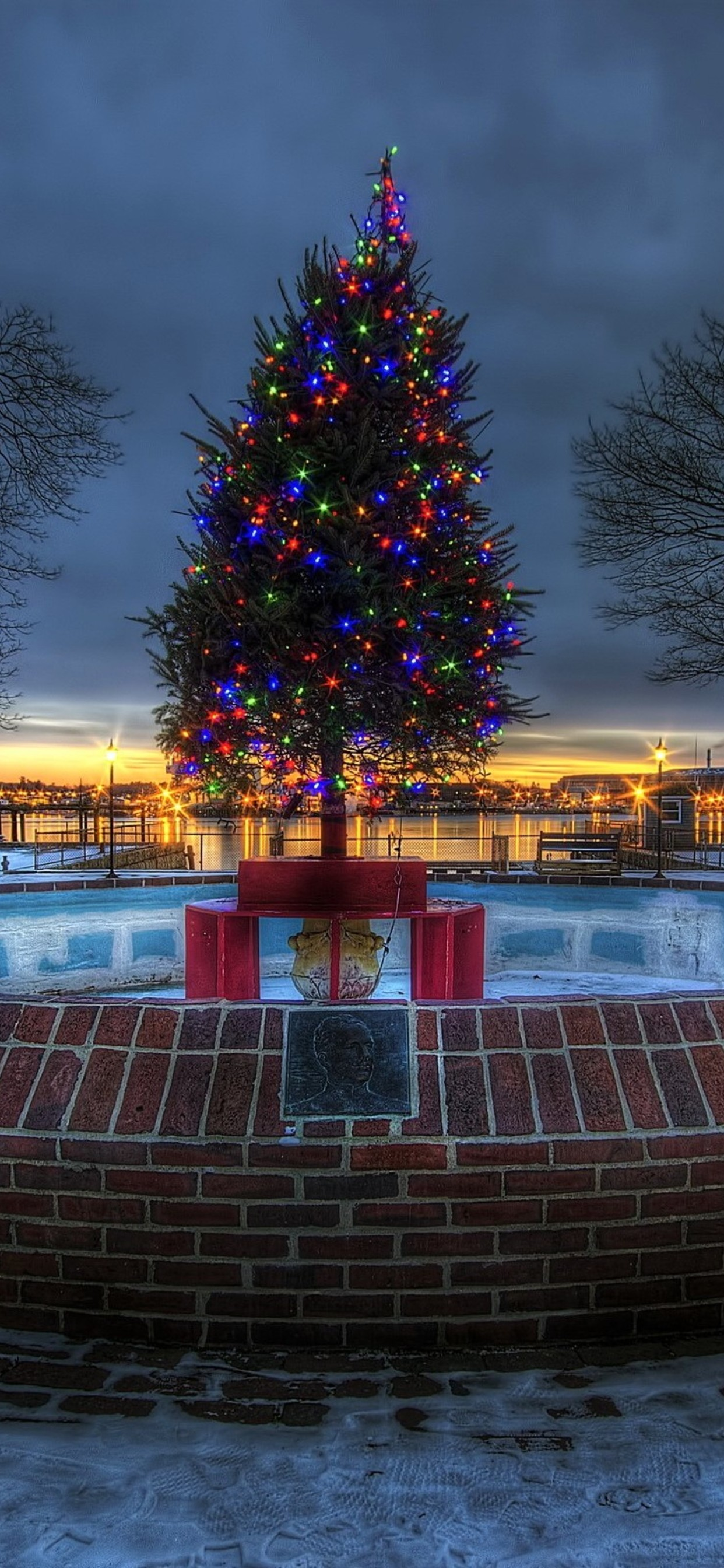 Lighted Christmas Tree - Huawei Christmas View , HD Wallpaper & Backgrounds