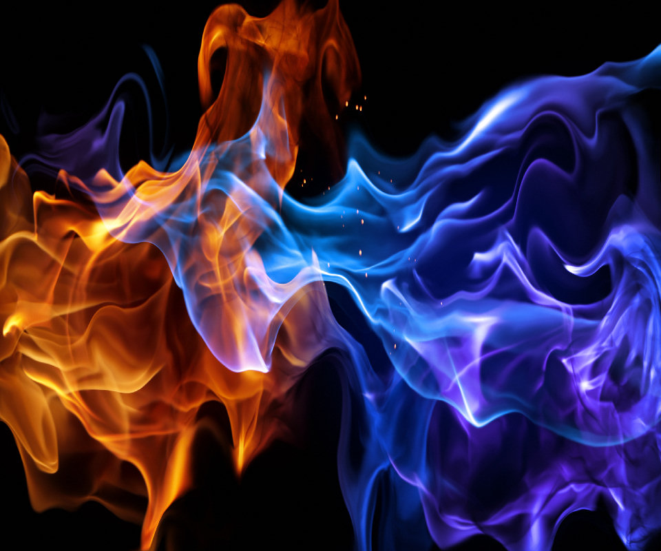 Red Fire And Blue Fire , HD Wallpaper & Backgrounds