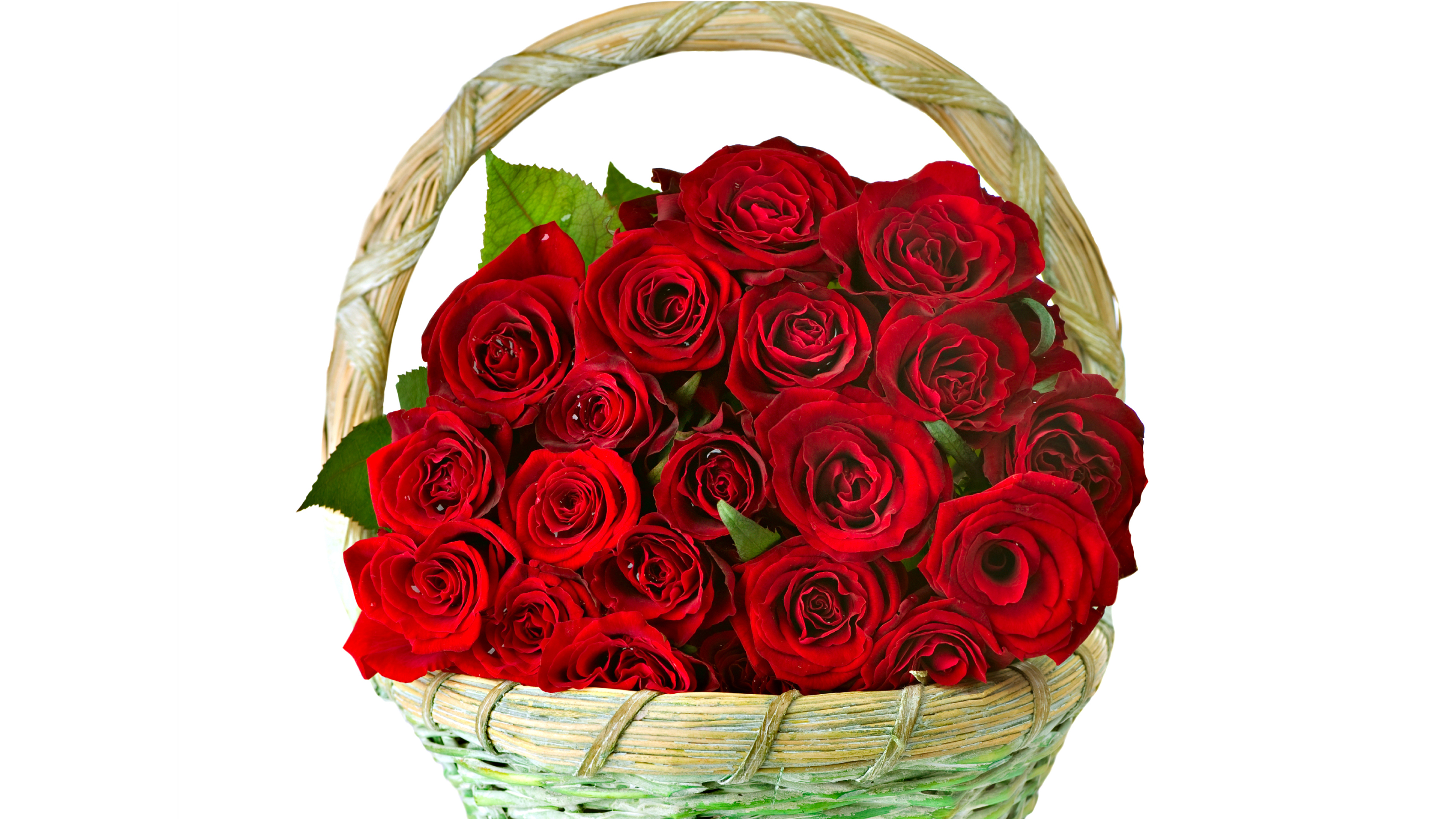 Bouquet Beautiful Red Roses Filled Basket For 8 March - Love Rose Beautiful Flowers , HD Wallpaper & Backgrounds
