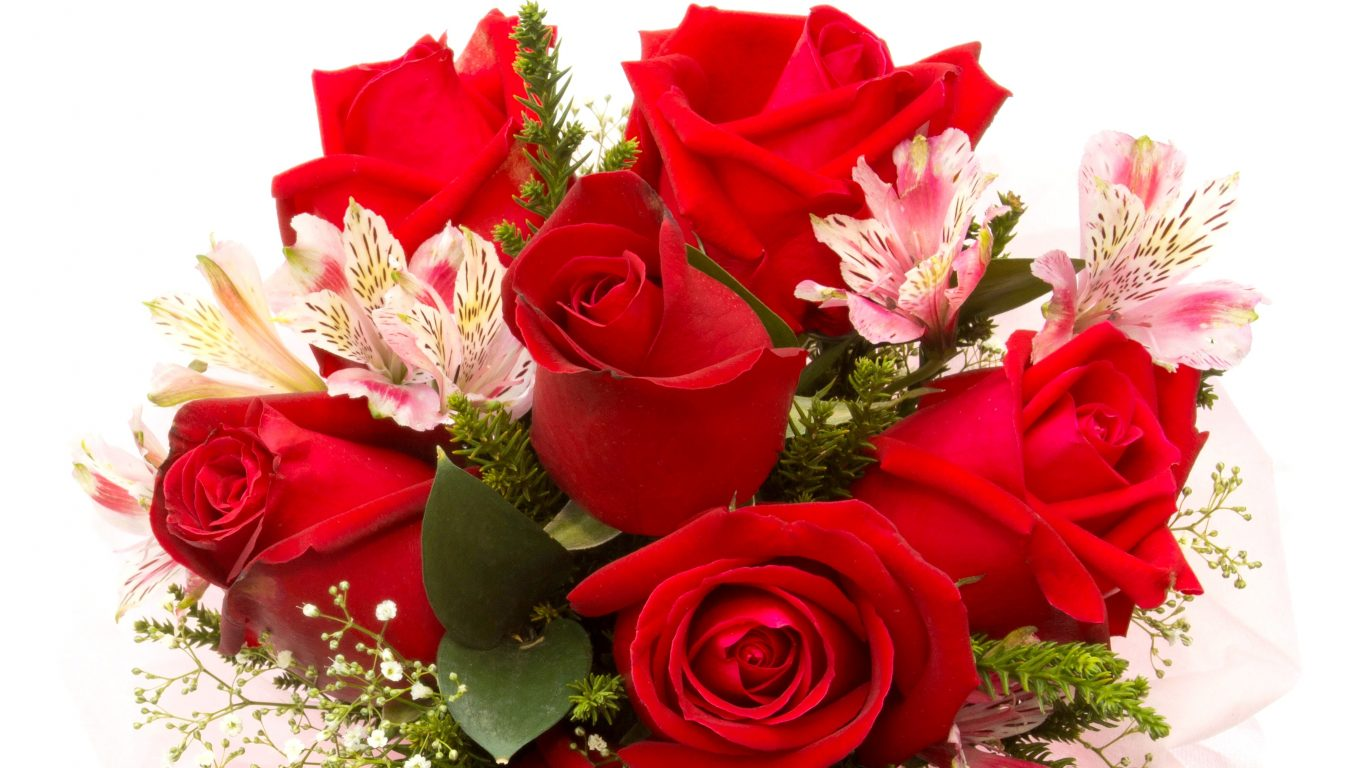 Red Roses Flowers Rose Bouquet Wallpaper Flower Hd - Full Hd Flower Hd , HD Wallpaper & Backgrounds