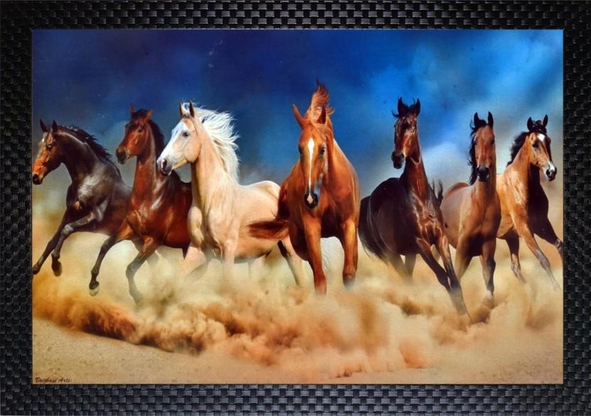 Janki Lucky Running Seven Horse Vastu Wall Painting 7 White
