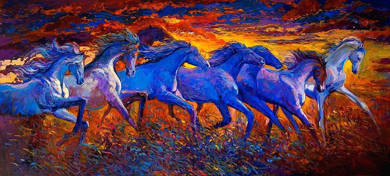 Running Horse Painting Unframed Canvas Painting Seven 7 Horse Painting Vastu 1388495 Hd Wallpaper Backgrounds Download