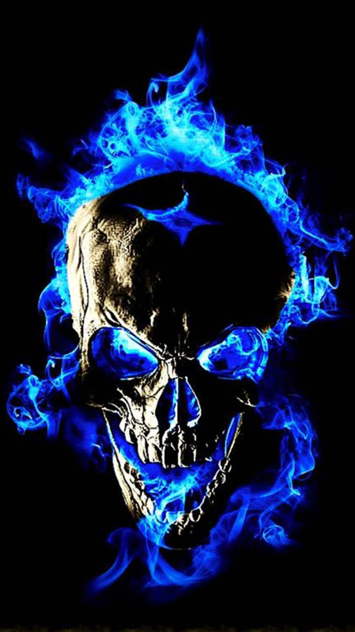 Blue Flame Skull Fire - Fire Cool Skull , HD Wallpaper & Backgrounds