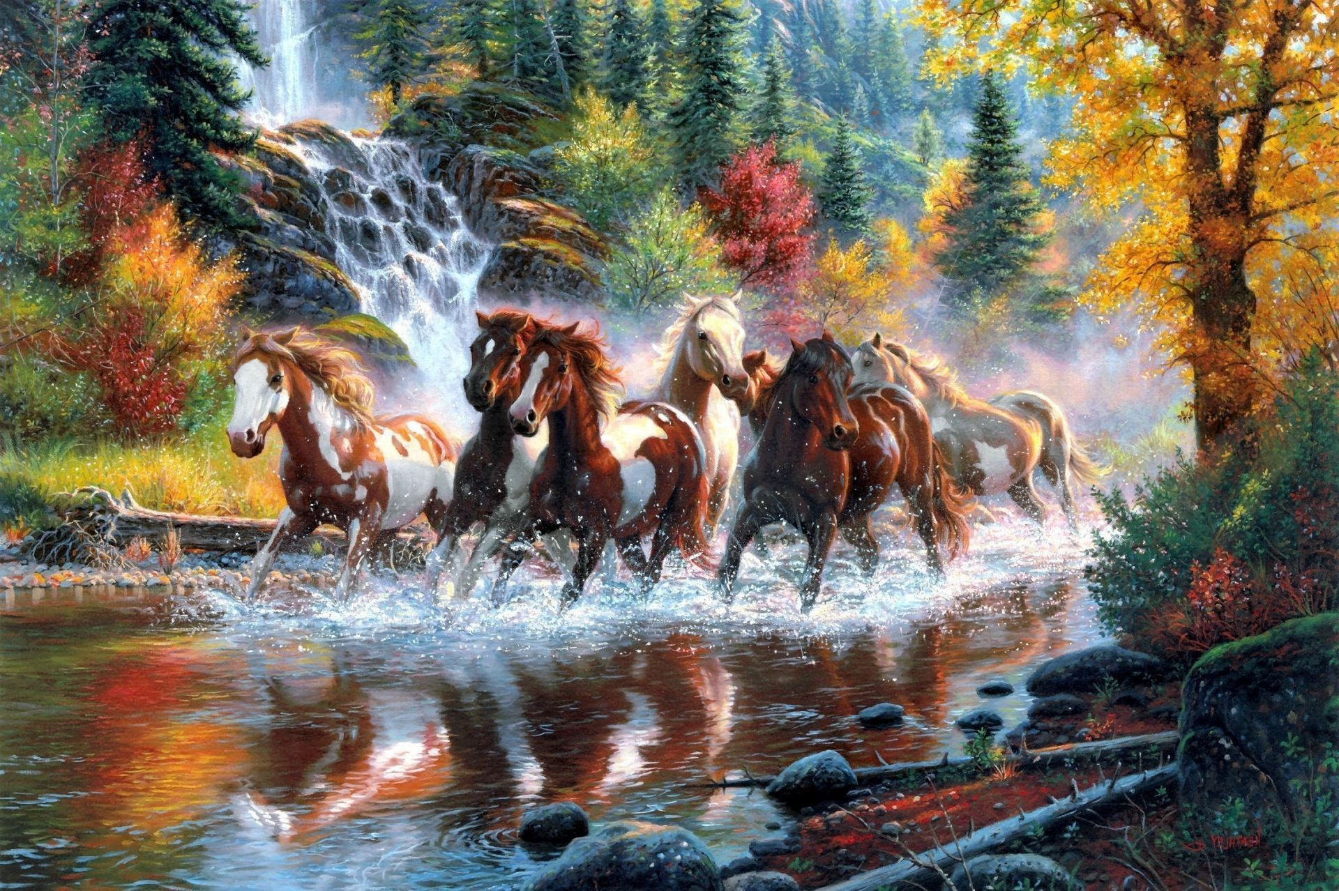 Horses The Horses Waterfall Forest Autumn River By 7 Horse