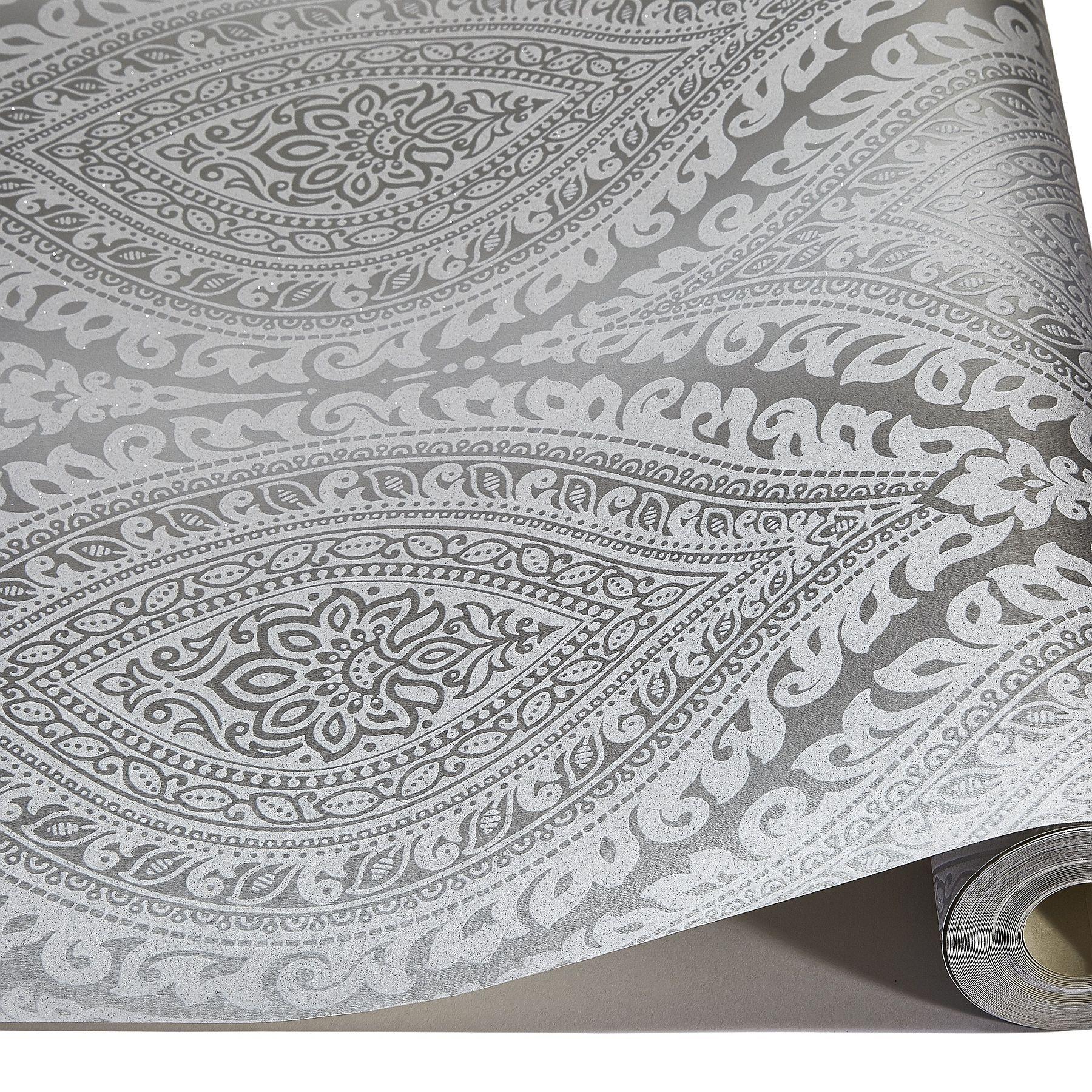 Details About Silver Damask Glitter Wallpaper Metallic Silver