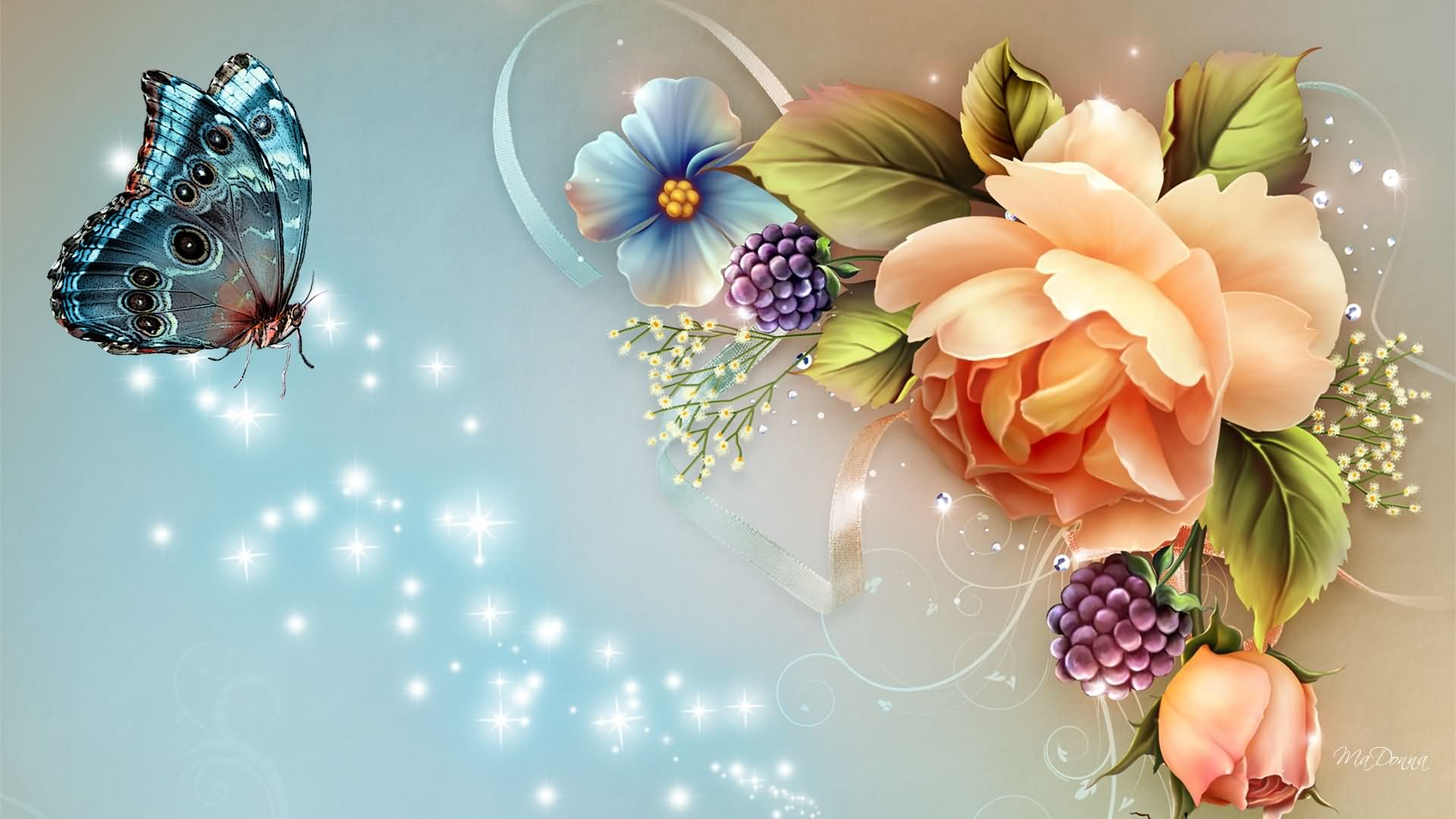 Collection «beautiful Flowers » × Wallpaper Wpc9209963 - Good Morning Sister I Love You , HD Wallpaper & Backgrounds