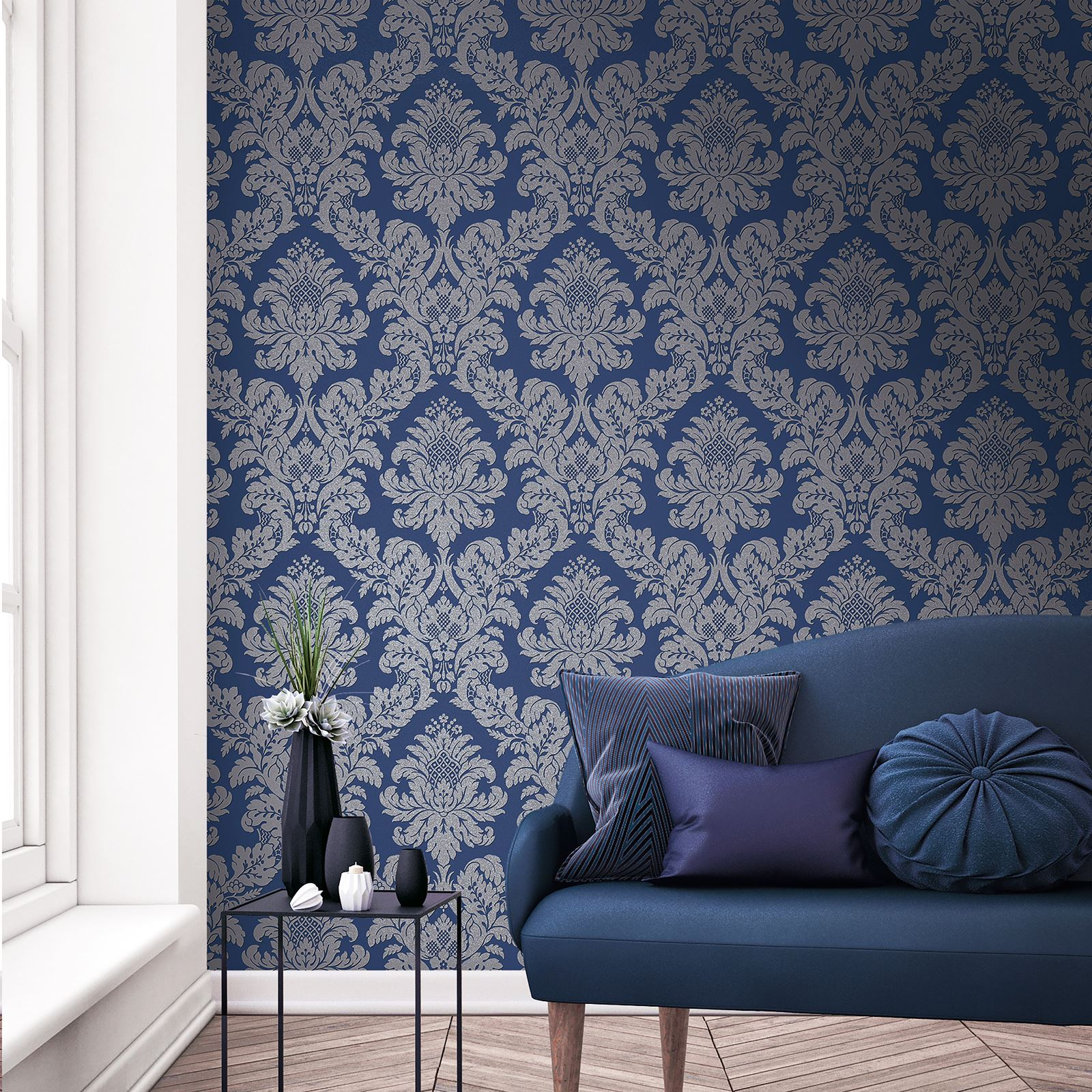 Midnight Blue Dark Navy Wallpaper Glitterati Floral Blue And