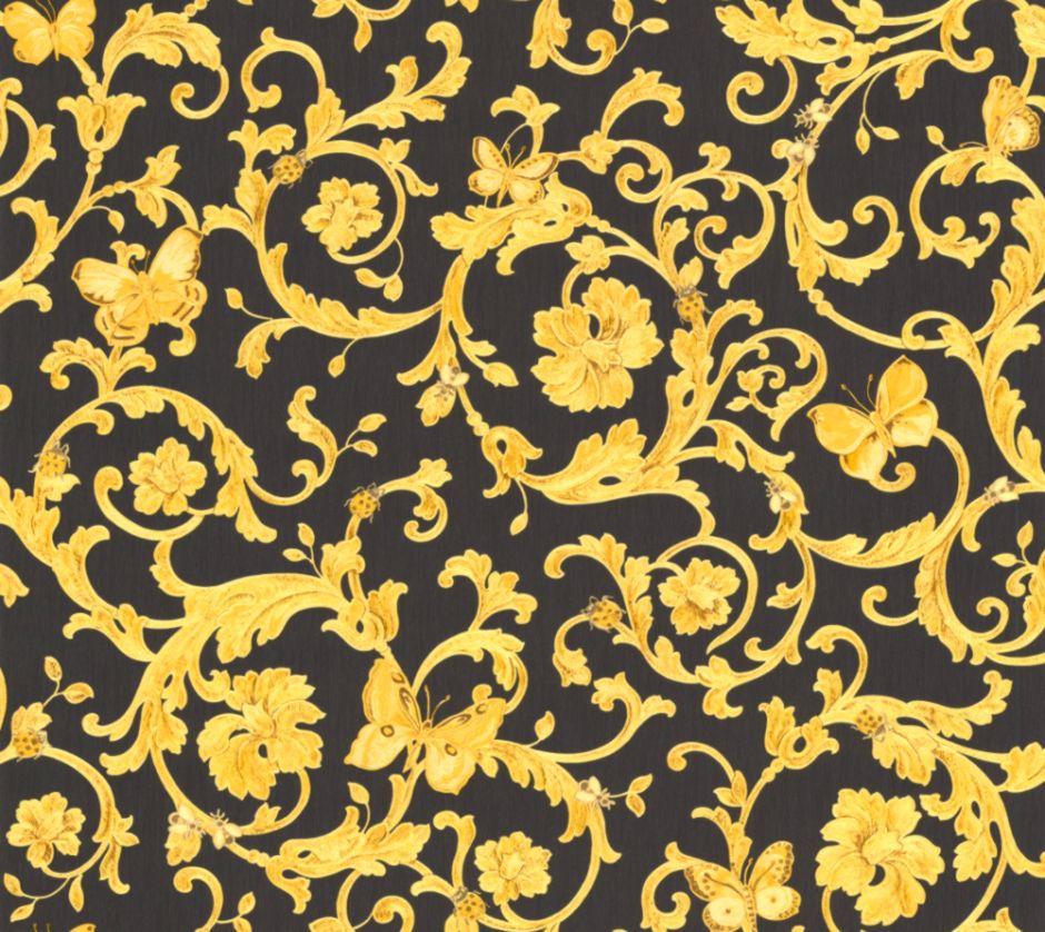 Carta Da Parati Giungla Versace.Ladybird Trail By Versace Black Gold Wallpaper Direct Carta Da