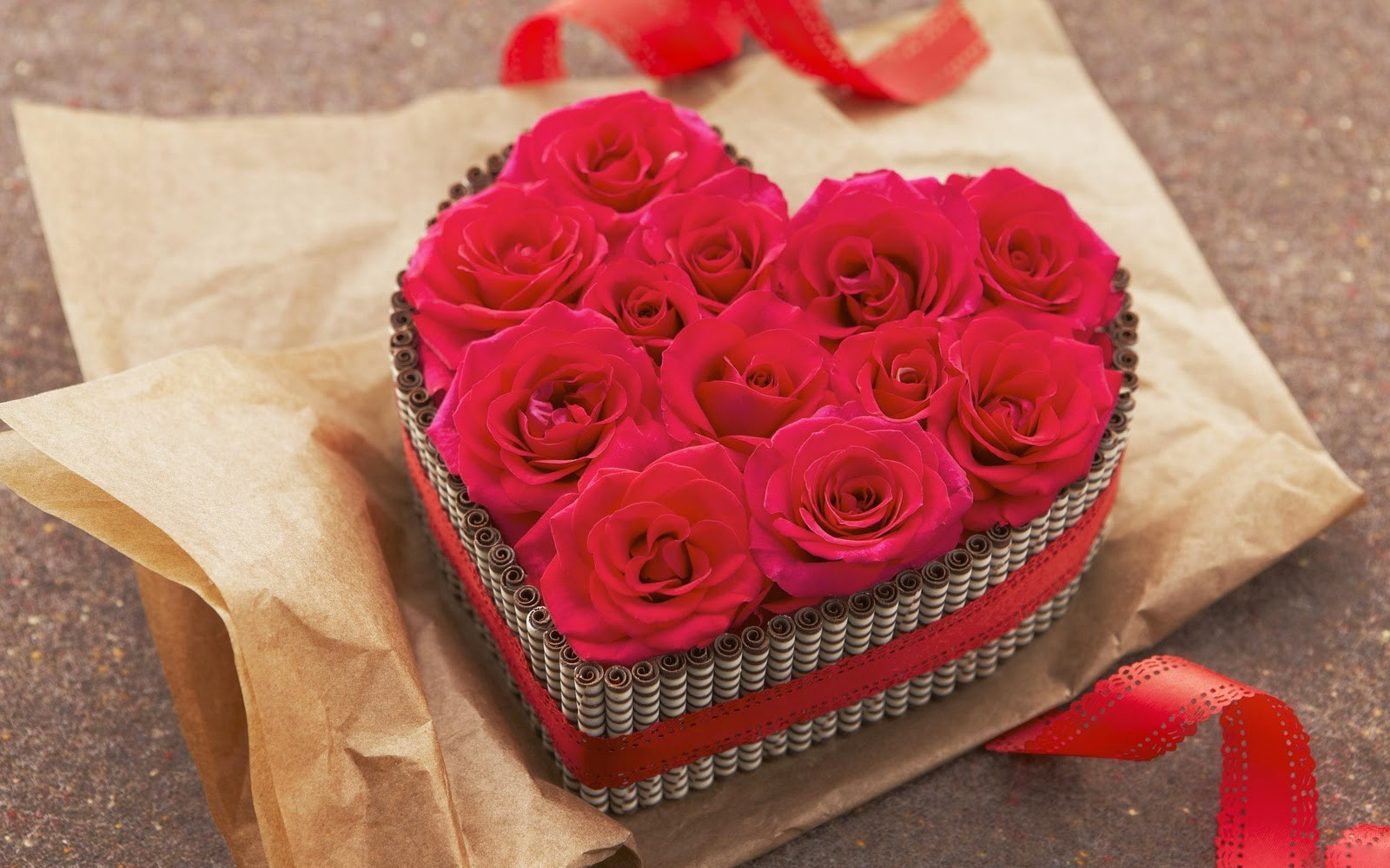 Valentines, Day, Wide, Hd, Wallpaper, For, Desktop, - Roses In A Heart Box , HD Wallpaper & Backgrounds