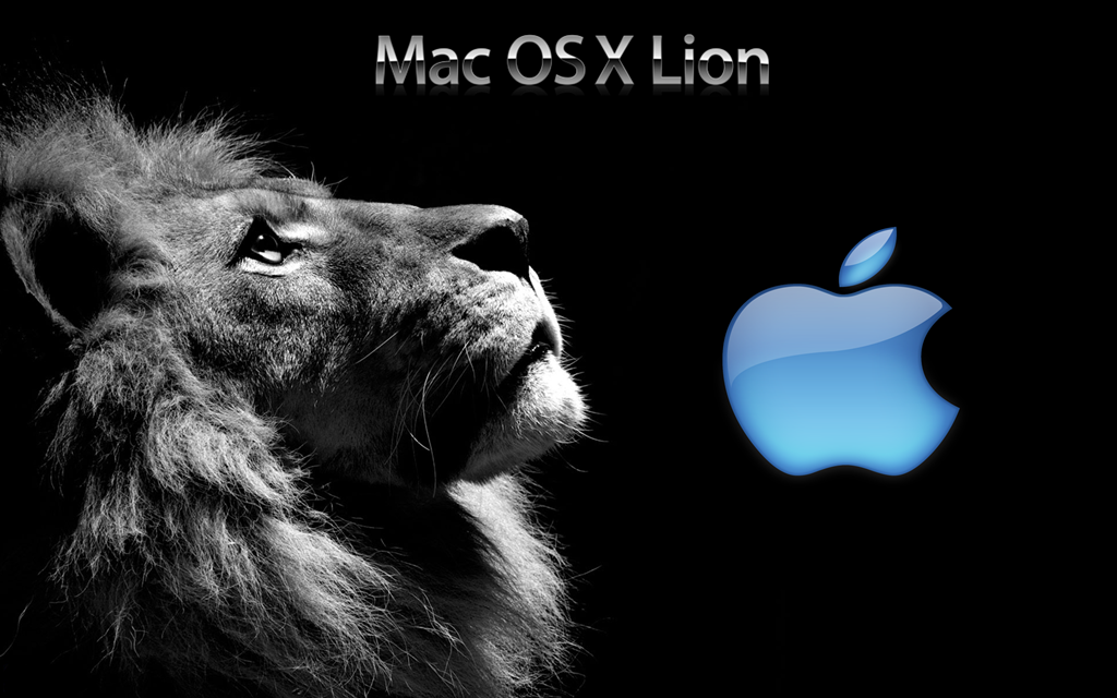 Sober Background Mac Os X Lion Wallpaper Black Blue - Lion Face Black And White , HD Wallpaper & Backgrounds
