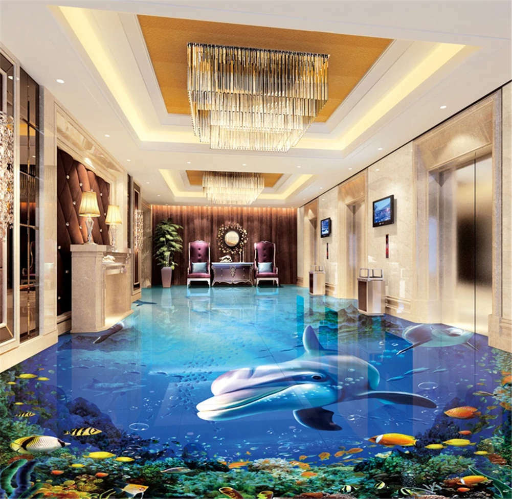 Insidious Lively Fish 3d Floor Mural Photo Flooring Gold Mosaic