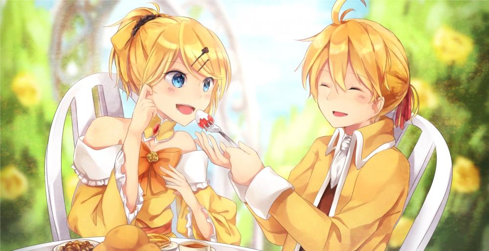 Wallpaper Kagamine Len Kagamine Rin Blonde Eating Rin
