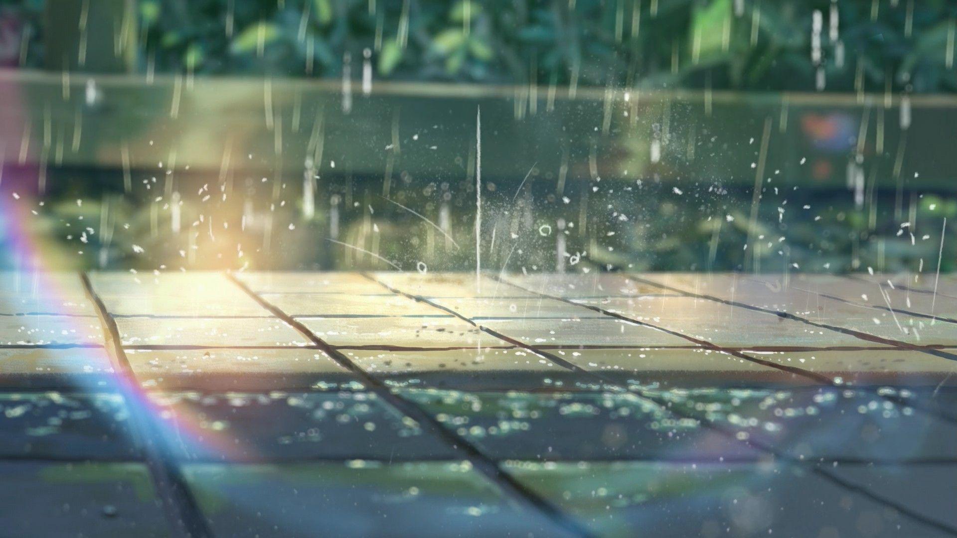 Sunlight Window Water Reflection Rain Green Glass Hd