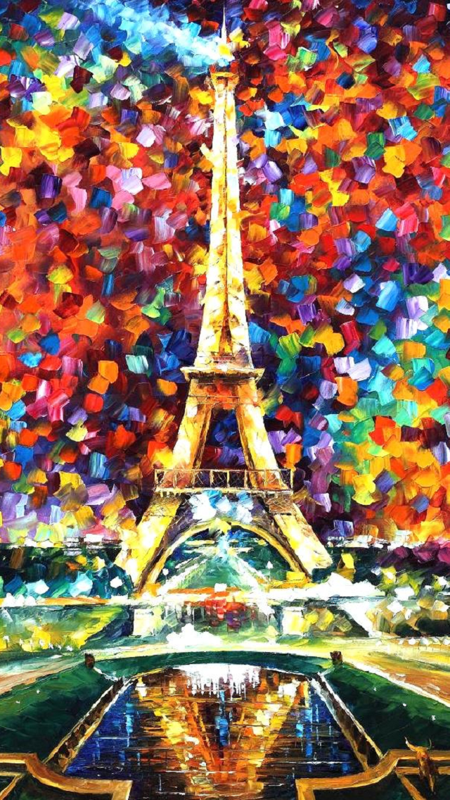 Eiffel Tower By Leonid Afremov Iphone 5 Wallpaper