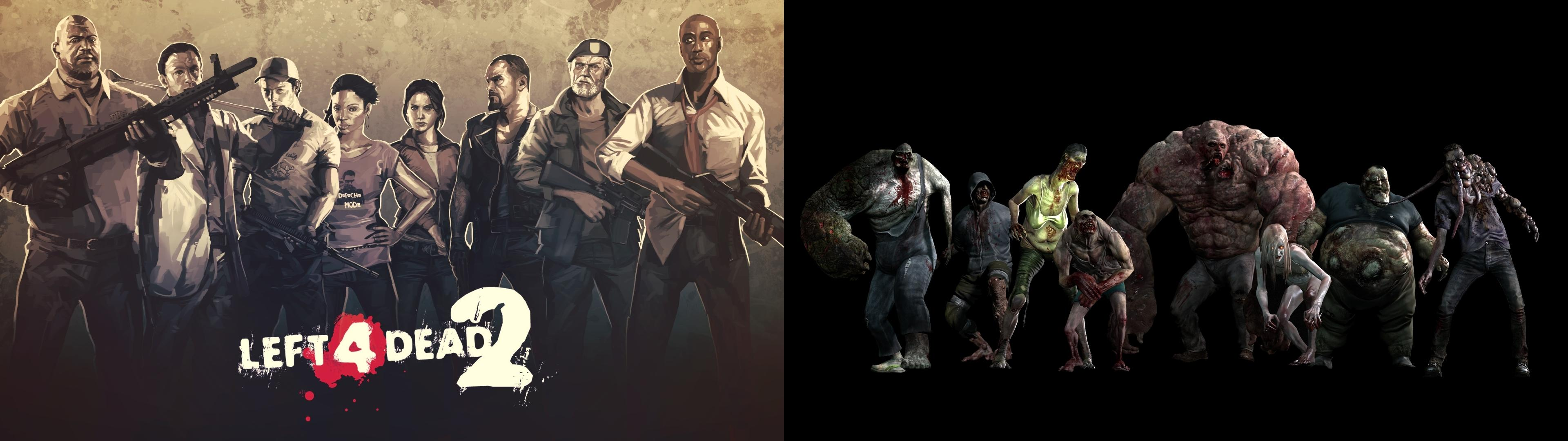 I Made A Dual Monitor Left 4 Dead 2 Wallpaper Because Left 4