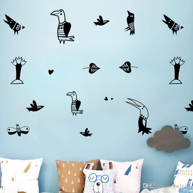 Diy Cute Creative Animal Cartoon Birds Wall Stickers - Painting , HD Wallpaper & Backgrounds