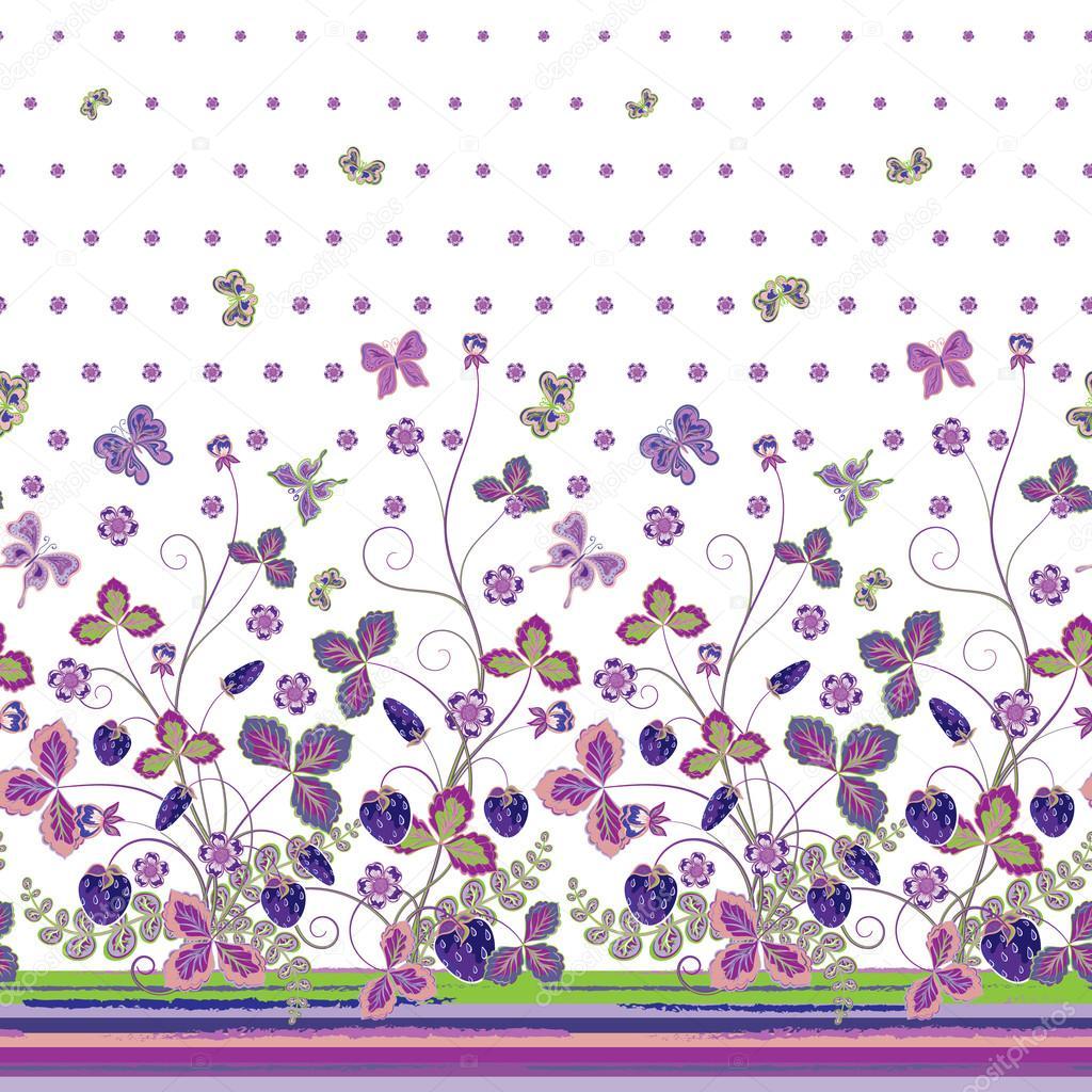 Vintage Berries Leaves Fruit Moth Butterfly Wallpaper - Butterfly Border Seamless Patterns , HD Wallpaper & Backgrounds