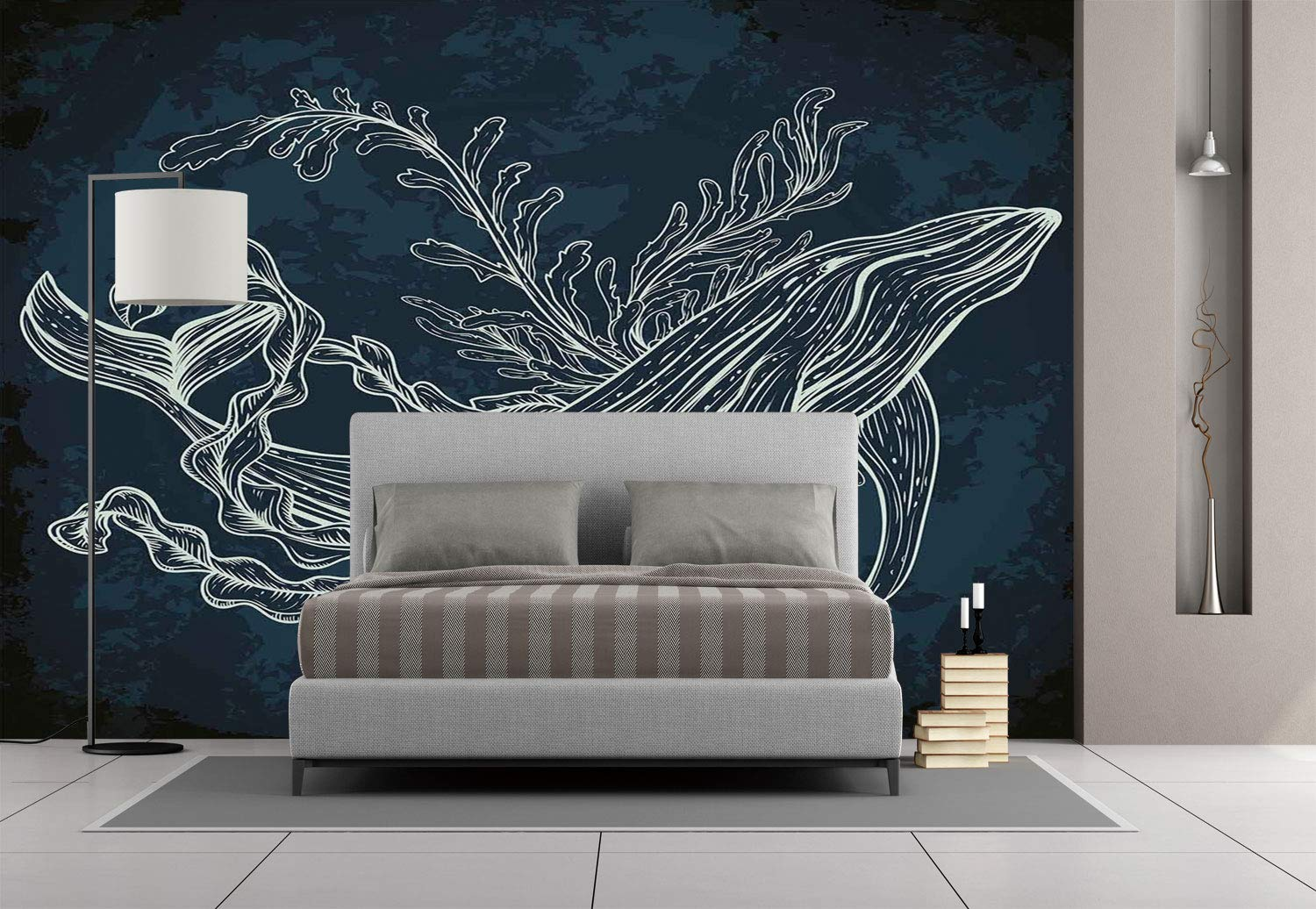Of Whale In Doodle Style With Coral Reef And Seaweeds - Noah Ark Wall Decoration , HD Wallpaper & Backgrounds
