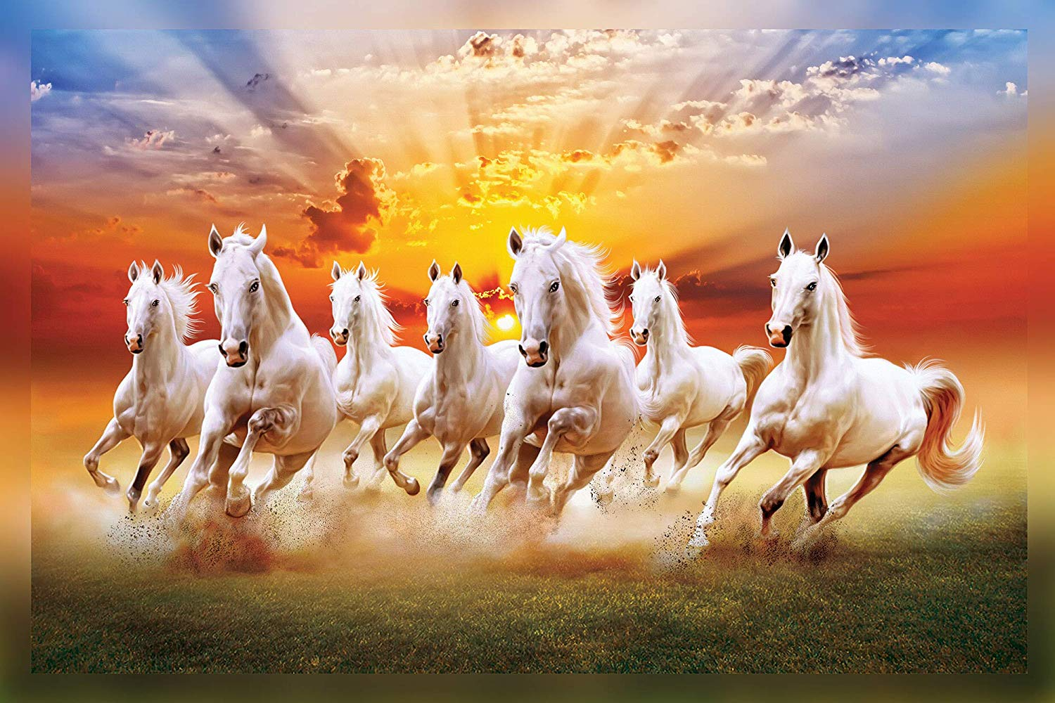 Seven Running Horses Painting Hd Print Wall Sticker Seven Running Horses 1453636 Hd Wallpaper Backgrounds Download