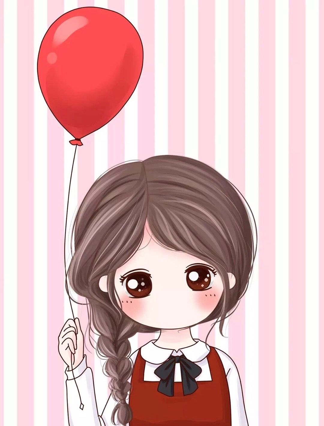 Girl With Balloon Cute Couple Cartoon Cute Cartoon