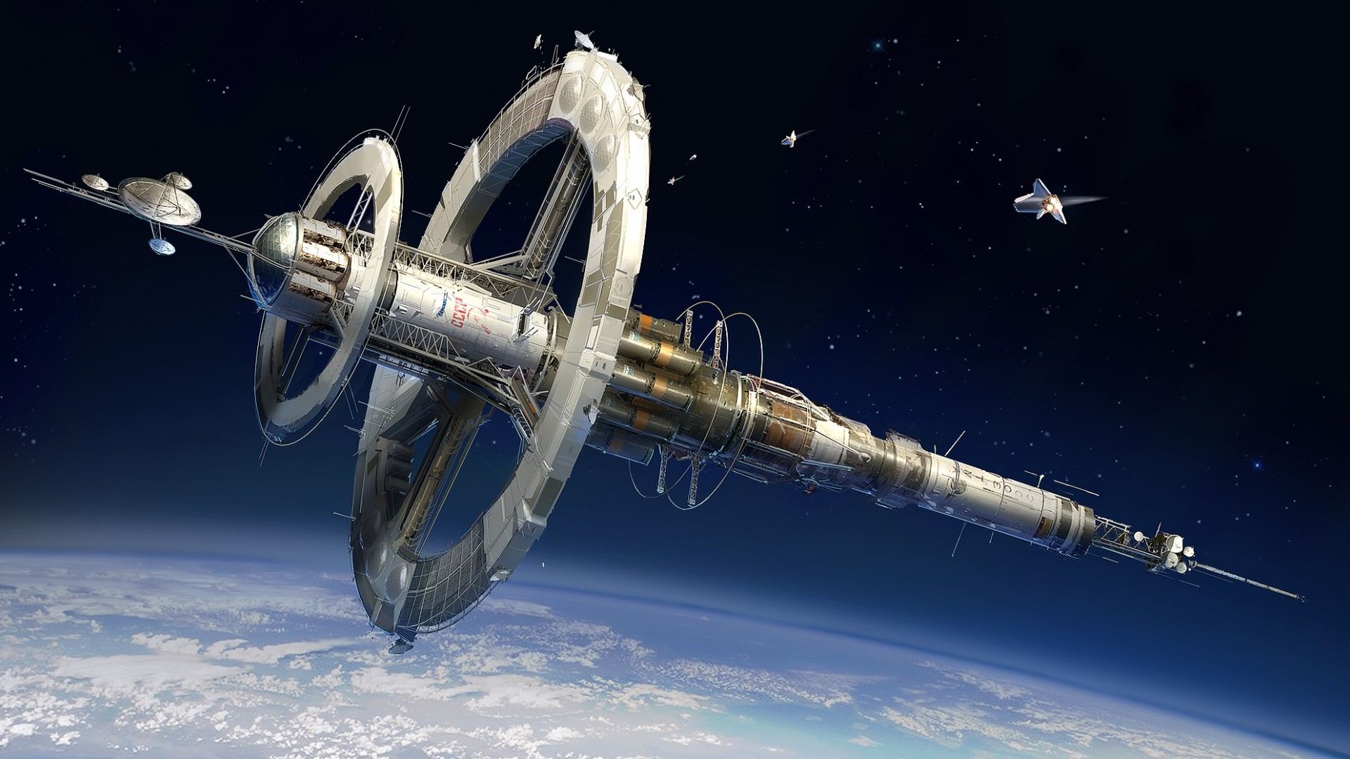 Space, Station, Earth, Planet, Nasa, Shuttle, Cccp, - Space Station Design Concepts , HD Wallpaper & Backgrounds