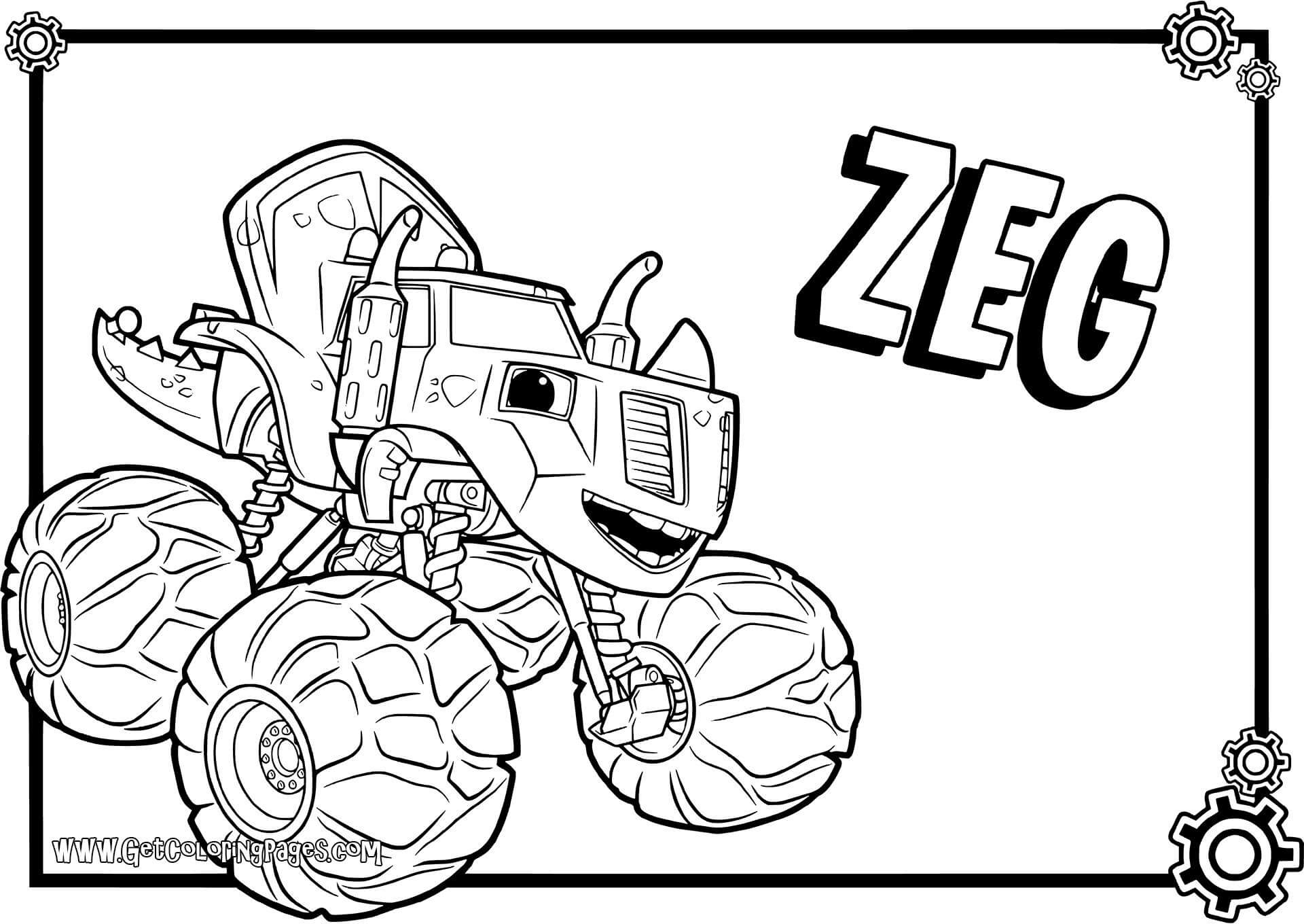 Zeg Blaze And The Monster Machines Coloring Pages - Blaze And The Monster Machines Zeg Coloring Pages , HD Wallpaper & Backgrounds