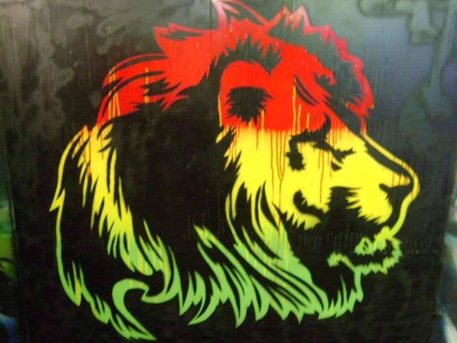 Lion Head In Rasta Colors , HD Wallpaper & Backgrounds