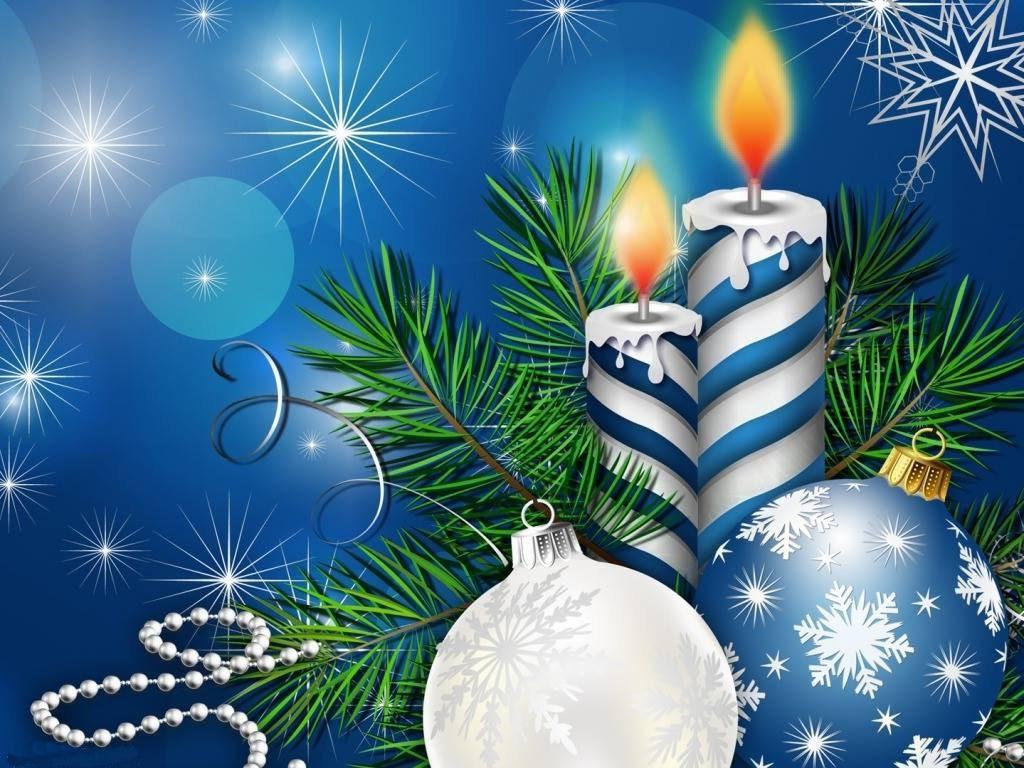 Christmas Christmas Ornaments Candles Leaves Wallpaper