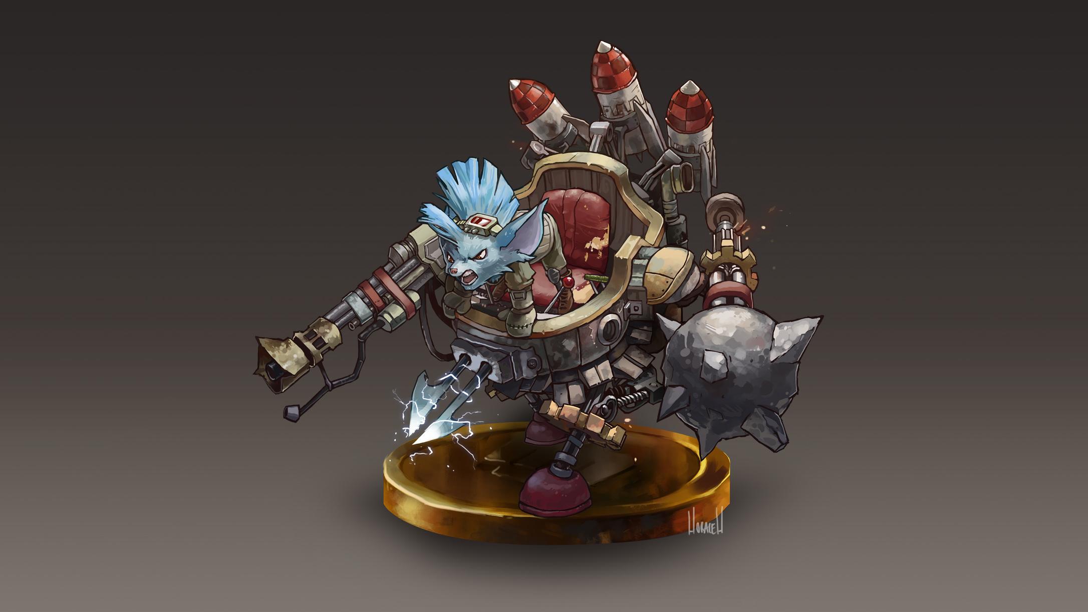 Rumble By Hozure Hd Wallpaper Fan Art Artwork League - League Of Legends Rumble Figure , HD Wallpaper & Backgrounds