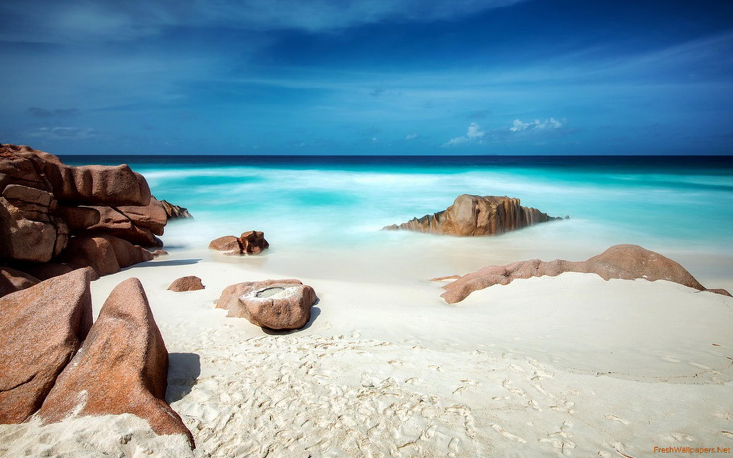 Seychelles White Sand Beach Wallpaper Seychelles White