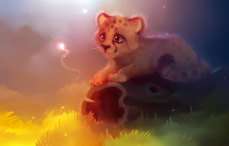 Animated Cheetah Wallpaper photo wallpaper grass, eyes, light, yellow, lilac, - cute