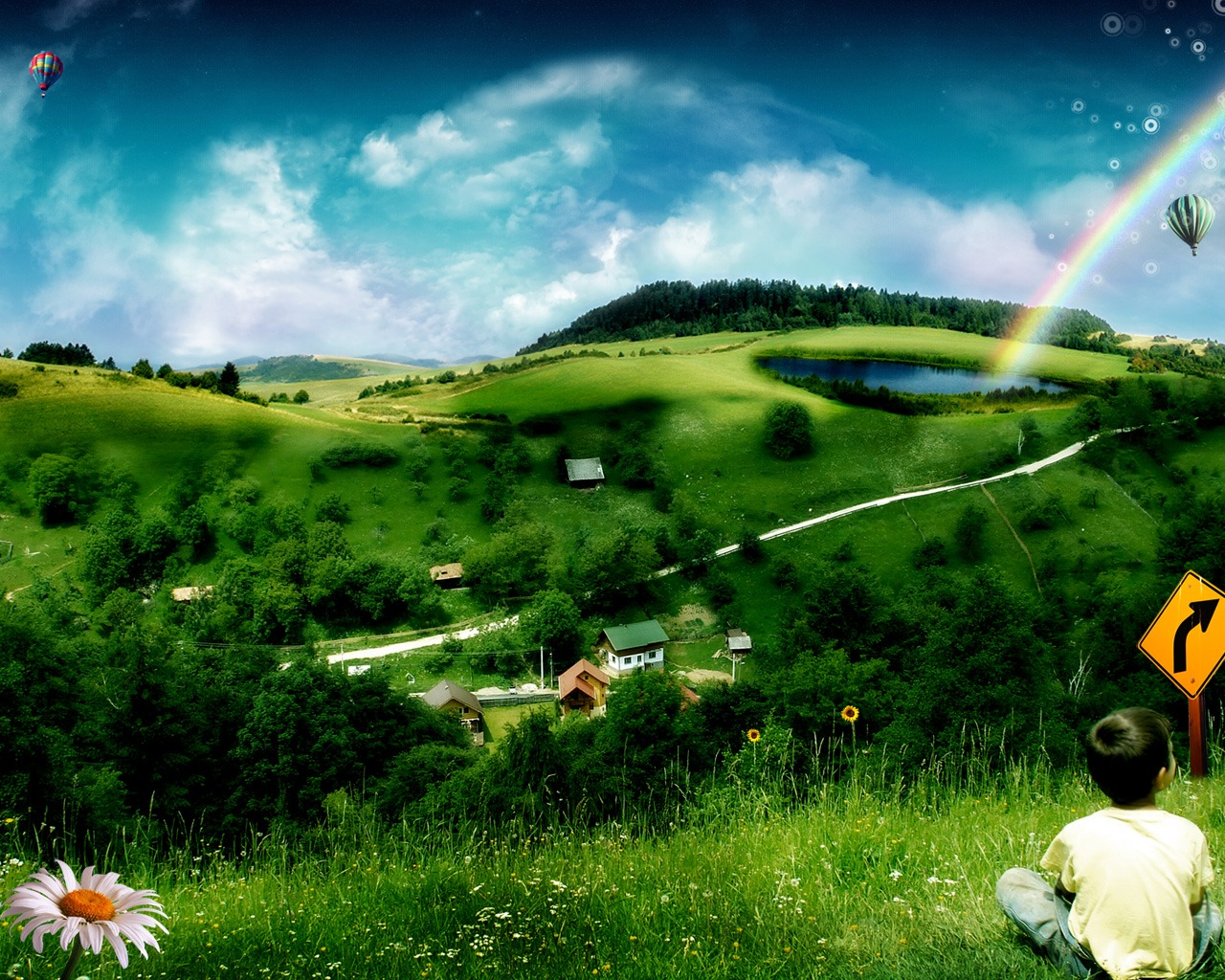 Fantasy Landscape By Photo Manipulation 1280*1024 No - Rainbow Images Hd Natural , HD Wallpaper & Backgrounds