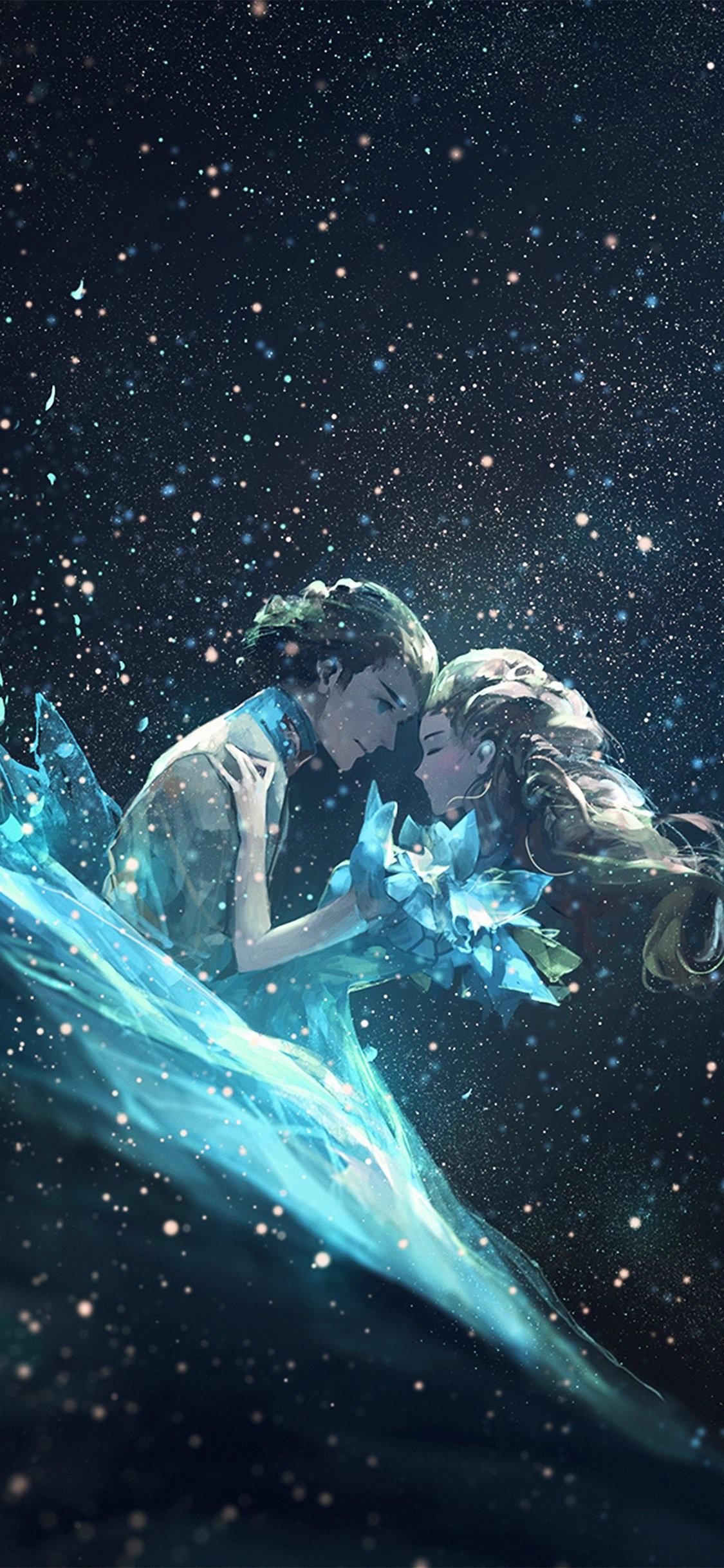 Av44 Anime Kiss Love Green Girl Boy Illustration Art - Lovely Wallpaper Iphone X , HD Wallpaper & Backgrounds