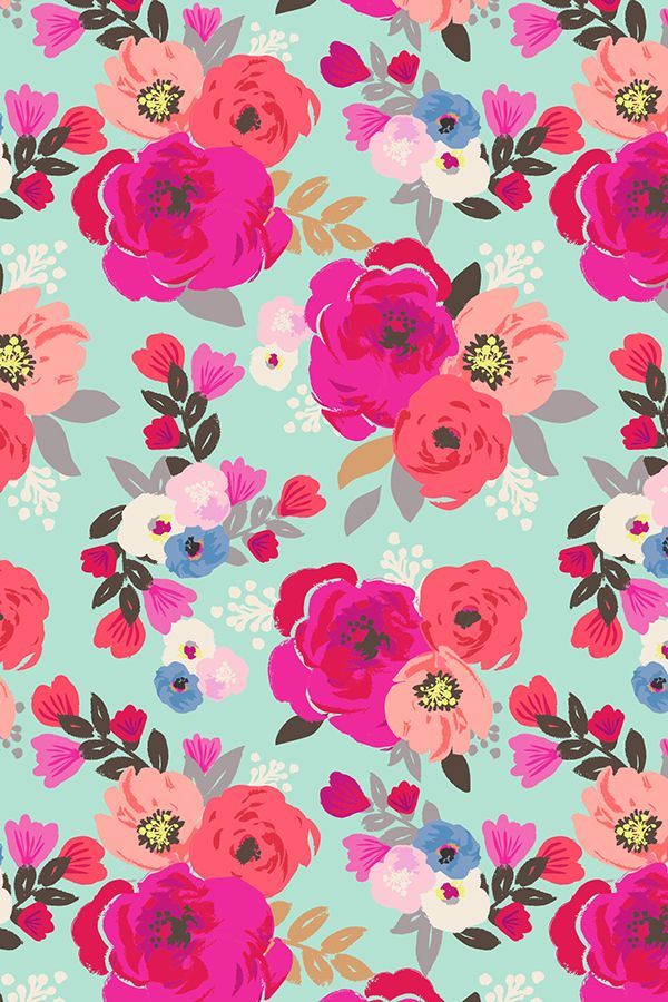 Hand Painted Sweet Pea Floral Aqua Design By Crystal - Floral Background , HD Wallpaper & Backgrounds