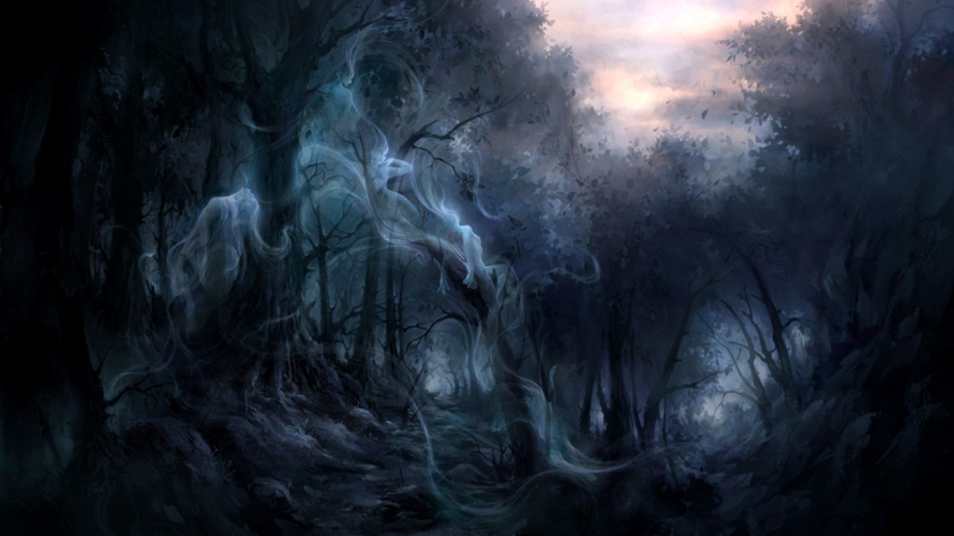 Dark Enchanted Forest Ghost Full Screen Wallpaper Enchanted Forest 151760 Hd Wallpaper Backgrounds Download