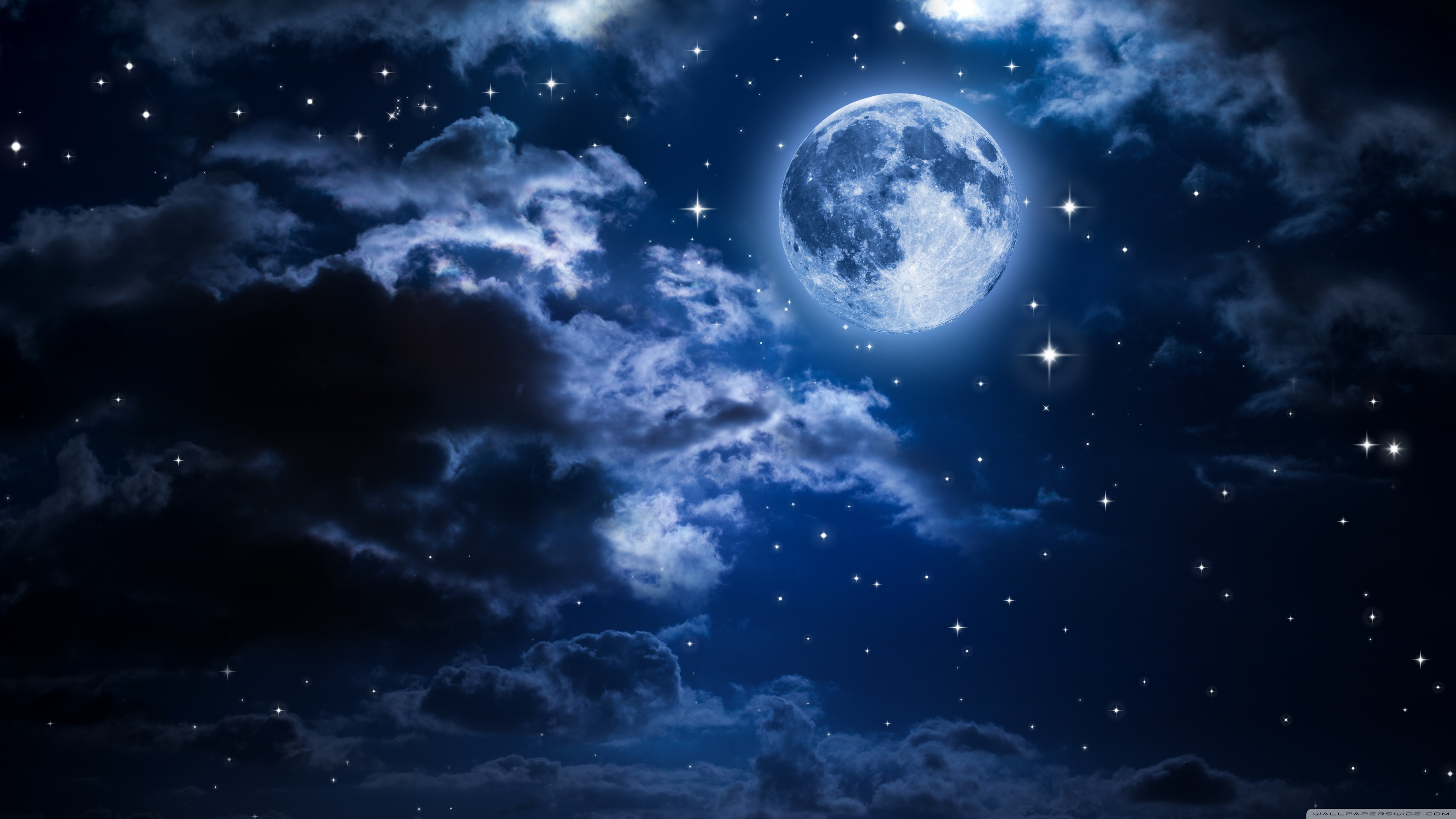 Uhd 16 - - Night Sky Stars Moon , HD Wallpaper & Backgrounds