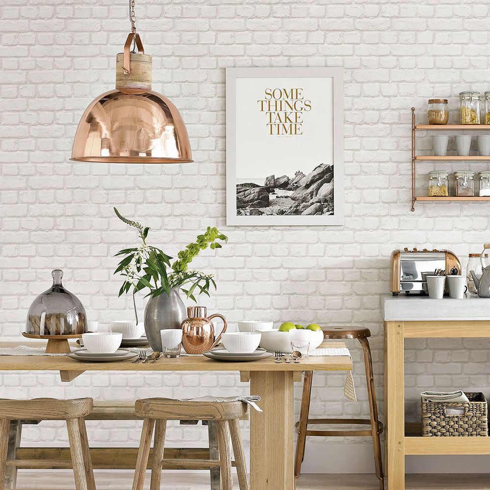 White Country Kitchen With Brick Effect Wallpaper White