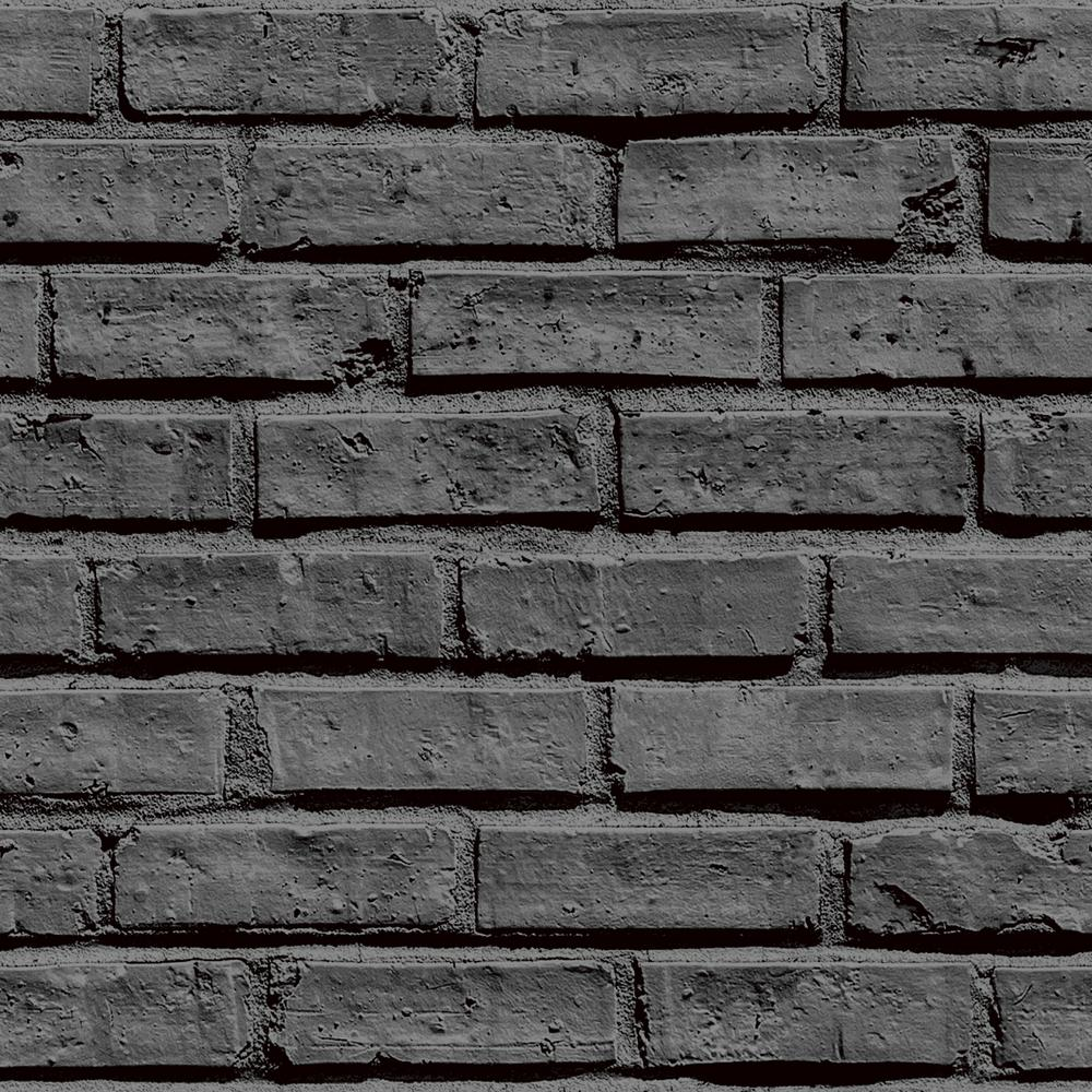 Arthouse Rustic Grey Brick Effect Unpasted Wallpaper Brick