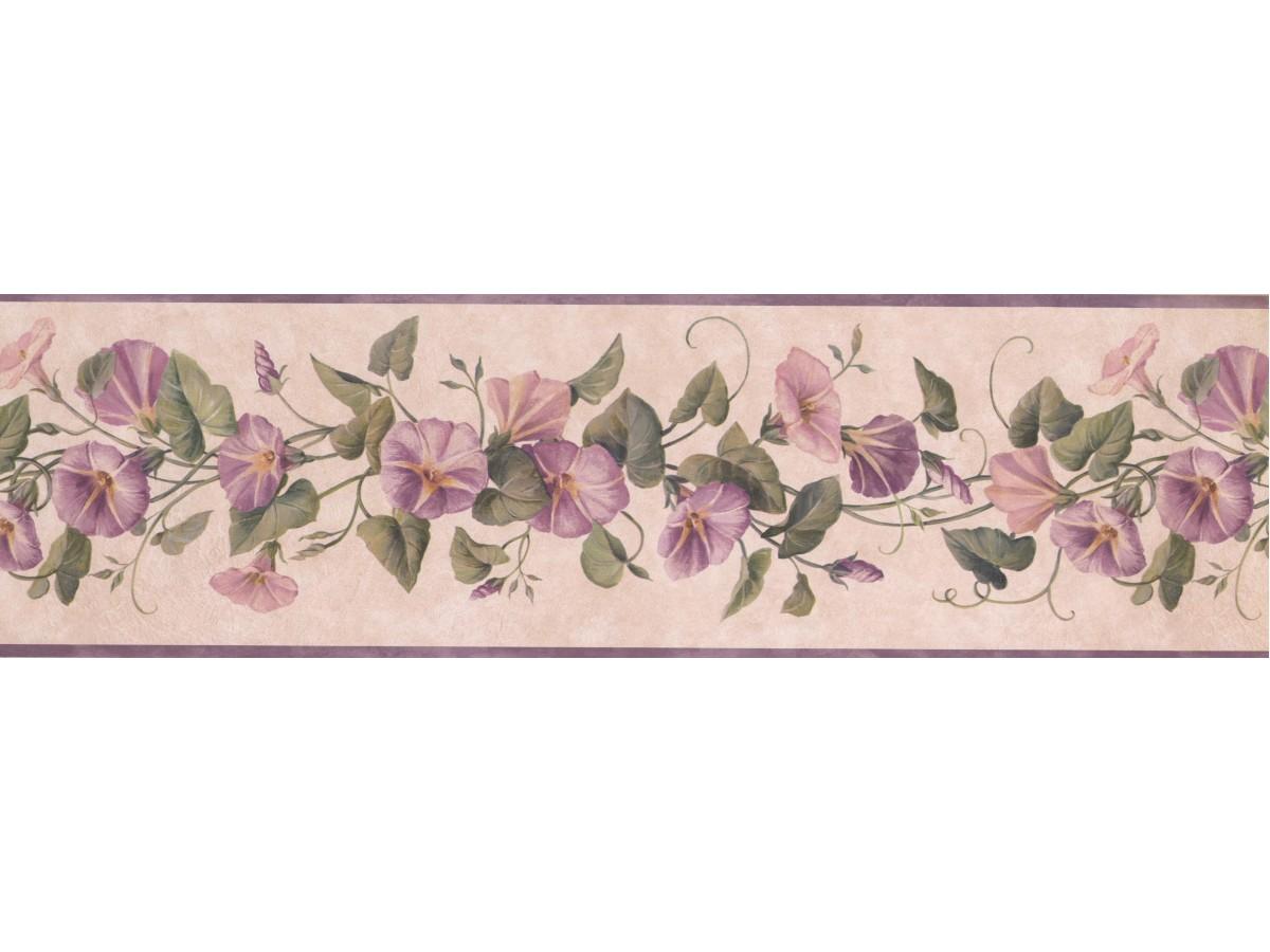 Floral Wallpaper Borders - Cream White Pale Lavender Floral Wallpaper Border , HD Wallpaper & Backgrounds