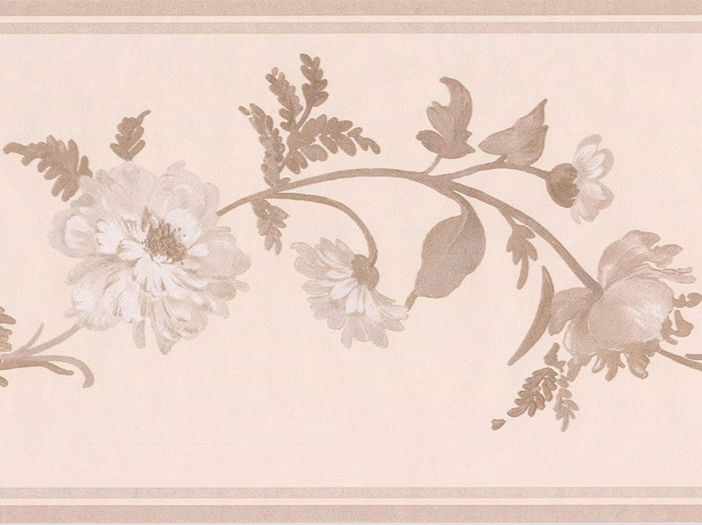White Flowers On Grey Vine Ivory Floral Wallpaper Border - Motif , HD Wallpaper & Backgrounds