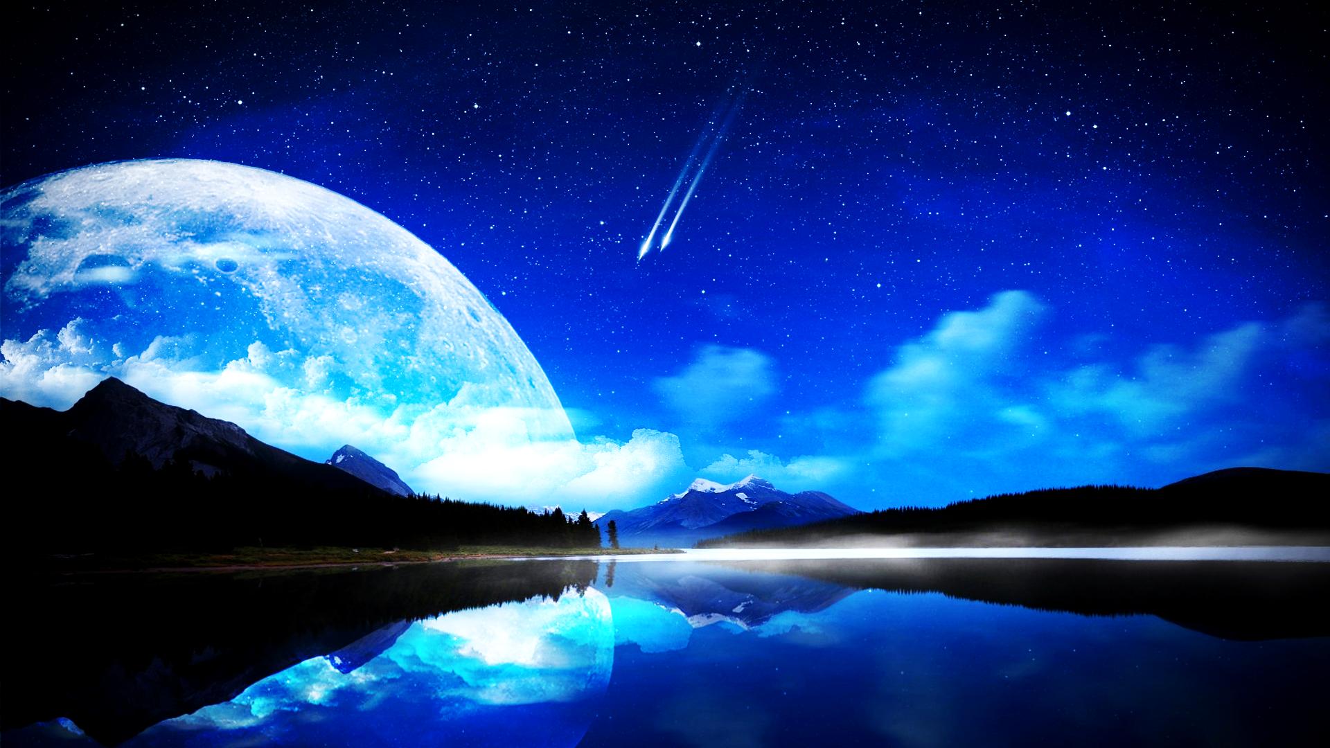 Crescent Moon Wallpaper Full Hd - Blue Moon Wallpaper Hd , HD Wallpaper & Backgrounds