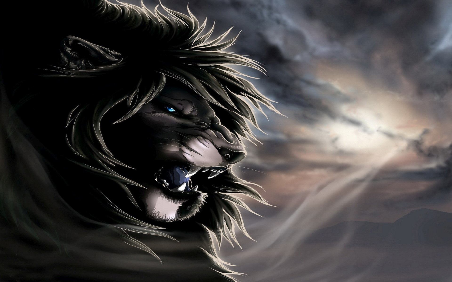Angry Lion Wallpaper - Angry Black Lion , HD Wallpaper & Backgrounds