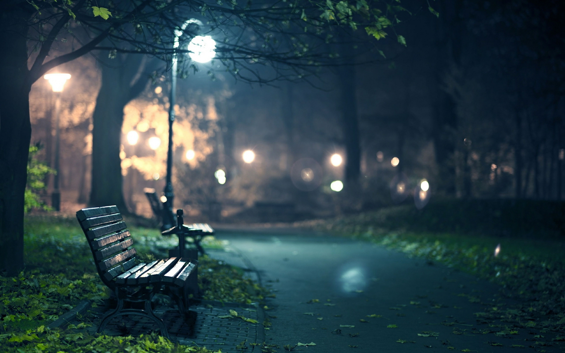 Free Download Computer Wallpaper Hd For Desktop - Park Bench At Night , HD Wallpaper & Backgrounds