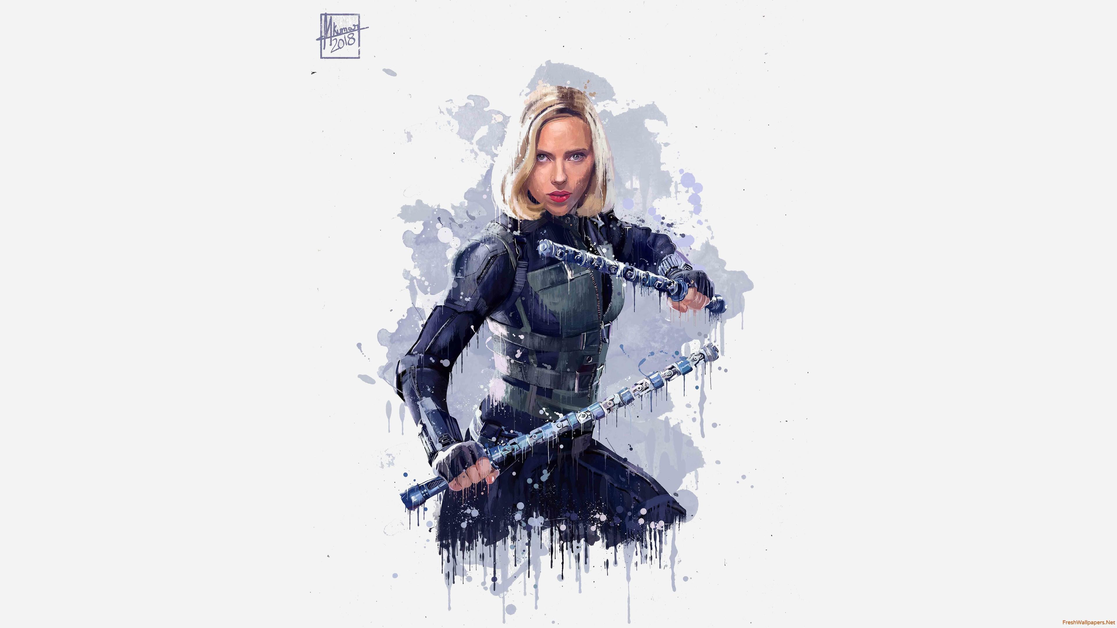 Black Widow Avengers Infinity War Artwork Wallpaper Black
