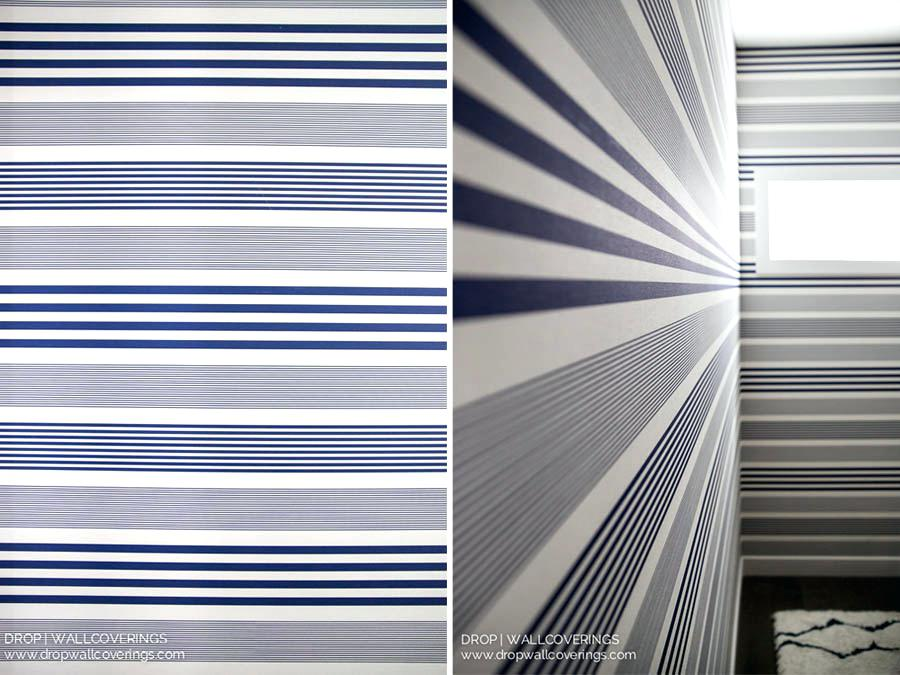 Nautical Blue And White Striped Wallpaper Installed